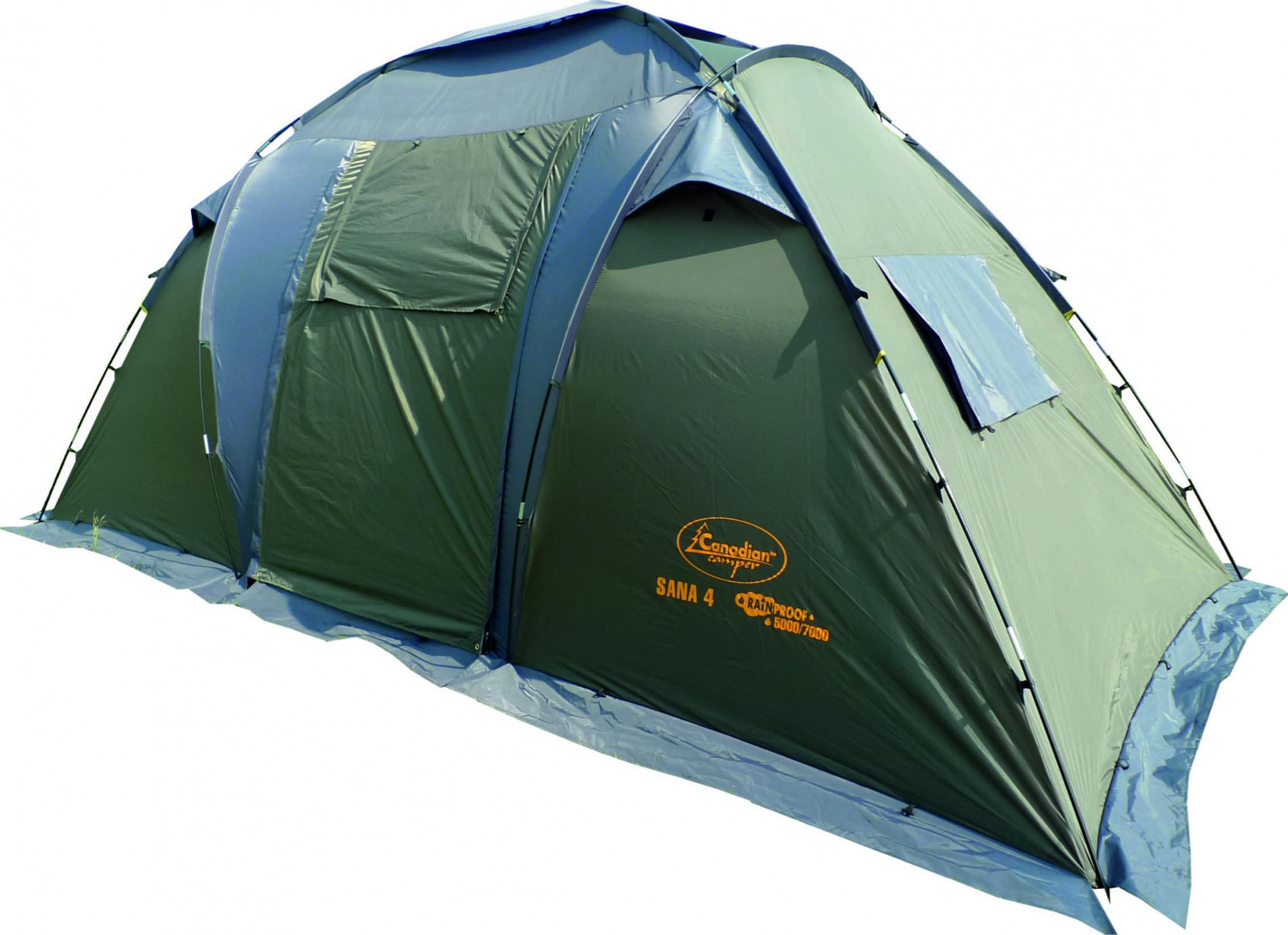 """Палатка Canadian Camper SANA 4 (цвет forest дуги 11/9,5 Палатки<br>SANA 4 - двухспальная кемпинговая палатка. <br>В отличие от предыдущих моделей, палатка <br>Sana 4 имеет две спальные двухместные комнаты, <br>которые разделены просторным центральным <br>тамбуром. В одной из комнат Вы можете уложить <br>спать детей, а в другой наслаждаться отдыхом <br>со своей прекрасной половиной. Конструкция <br>палатки позволяет оптимально организовать <br>внутреннее пространство, так как возможна <br>установка одного тента, одной или двух спален <br>под ним. Семь вентиляционных окон и два <br>входа с антимоскитными сетками по всей <br>площади обеспечат комфорт даже в очень <br>жаркий летний день. Дверь тамбура можно <br>использовать как дополнительный козырек <br>над входом. Для предотвращения проникновения <br>насекомых палатка имеет """"юбку"""" по всему <br>периметру. Палатка выпускается в двух цветовых <br>решениях - ROYAL и WOODLAND. Не комплектуется полом <br>для тамбура.<br><br>Сезон: лето<br>Цвет: зеленый"""