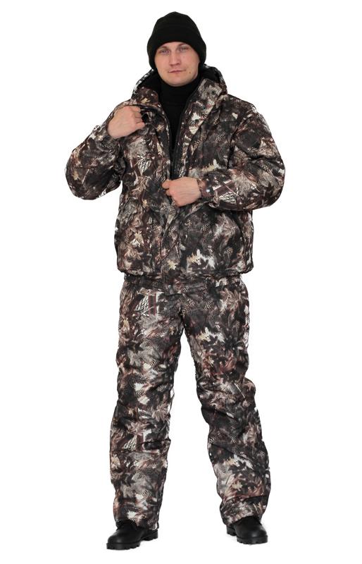 Костюм мужской Вихрь зимний кмф алова Костюмы утепленные<br>Камуфлированный универсальный костюм <br>для охоты, рыбалки и активного отдыха при <br>низких температурах. Состоит из укороченной <br>куртки с капюшоном и полукомбинезона. Куртка: <br>• Регулируемый втачной капюшон - воротник <br>на флисовой подкладке. • Центральная застежка <br>- молния закрыта ветрозащитной планкой <br>на кнопках. • Внутренняя планка, закрывающая <br>верхний край молнии. • Нижние накладные <br>карманы, нагрудный прорезной карман на <br>молнии. • На рукаве накладной, объемный <br>карман под мобильный телефон. • Низ куртки <br>и манжеты на широкой резинке. Полукомбинезон: <br>• С центральной застежкой на молнию и ветрозащитной <br>планкой. • Высокая грудка и спинка. • Два <br>передних , один задний накладных кармана <br>и один на груди с клапаном на кнопках. • <br>Мягкие регулируемые бретели с эластичной <br>лентой. • Низ полукомбинезона регулируется <br>молнией.<br><br>Пол: мужской<br>Размер: 48-50<br>Рост: 170-176<br>Сезон: зима<br>Цвет: серый<br>Материал: Дюспа бондированная, 190г/м2