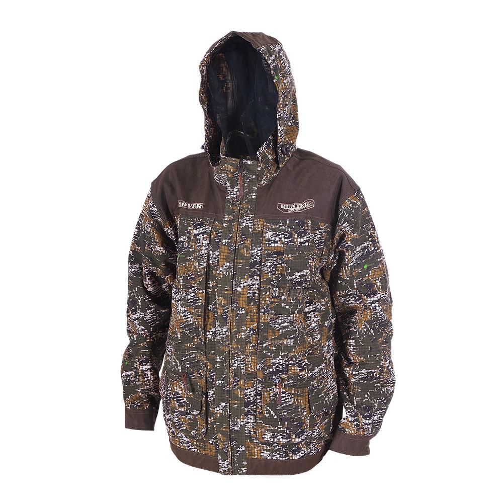 Куртка ХСН «Ровер-охотник» (9792-0) (Цифра Куртки неутепленные<br>Отлично подойдет любителям охоты и активного <br>отдыха. Куртка изготовлена из нешуршащей <br>хлопкоэфирной ткани с водоотталкивающей <br>пропиткой. Комфортная температура эксплуатации: <br>от +10°С до +20°С. Особенности: - утягивающийся <br>съемный капюшон с козырьком; - вшитая противомоскитная <br>сетка; - 11 объемных карманов, позволяющих <br>удобно разместить в них флягу, телефон и <br>все необходимое; - особый крой рукава, обеспечивающий <br>свободу движения; - застегивается на молнию; <br>- усиленная ткань на плечах; - манжеты на <br>пуговицах с возможностью регулировки ширины; <br>- двойной джинсовый запошивочный шов.<br><br>Пол: мужской<br>Размер: 50 - 52 / 188<br>Сезон: лето<br>Цвет: камуфляжный<br>Материал: Хлопкополиэфирная ткань