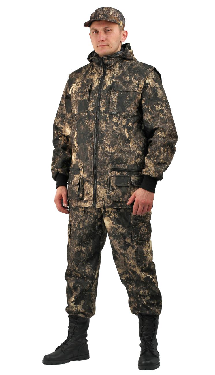 Костюм мужской Тройка демисезонный кмф Костюмы утепленные<br>Костюм состоит из куртки, брюк и жилета <br>Жилет утепленный: * воротник стойка * центральная <br>застежка на молнию * нагрудные объемные <br>накладные карманы с застежкой липучку * <br>нижние многофункциональные накладные объемные <br>карманы на молнии и липучке * внутренний <br>карман для документов Куртка с капюшоном <br>на подкладке из сетки: * центральная застежка <br>молнию * притачной капюшон с регулировкой <br>объема по лицевому вырезу * низ куртки регулируется <br>по объему эластичным шнуром * рукава с трикотажными <br>манжетами * нагрудные накладные объемные <br>карманы с клапанами на липучке * нижние <br>прорезные карманы с листочкой Брюки на <br>подкладке из сетки: * пояс с эластичной лентой <br>со шлевками под широкий ремень * защипы <br>в области коленей обеспечивают свободу <br>движения * боковые накладные объемные карманы <br>с клапанами на кнопках<br><br>Пол: мужской<br>Размер: 56-58<br>Рост: 170-176<br>Сезон: демисезонный<br>Цвет: коричневый<br>Материал: Алова 100% полиэстер
