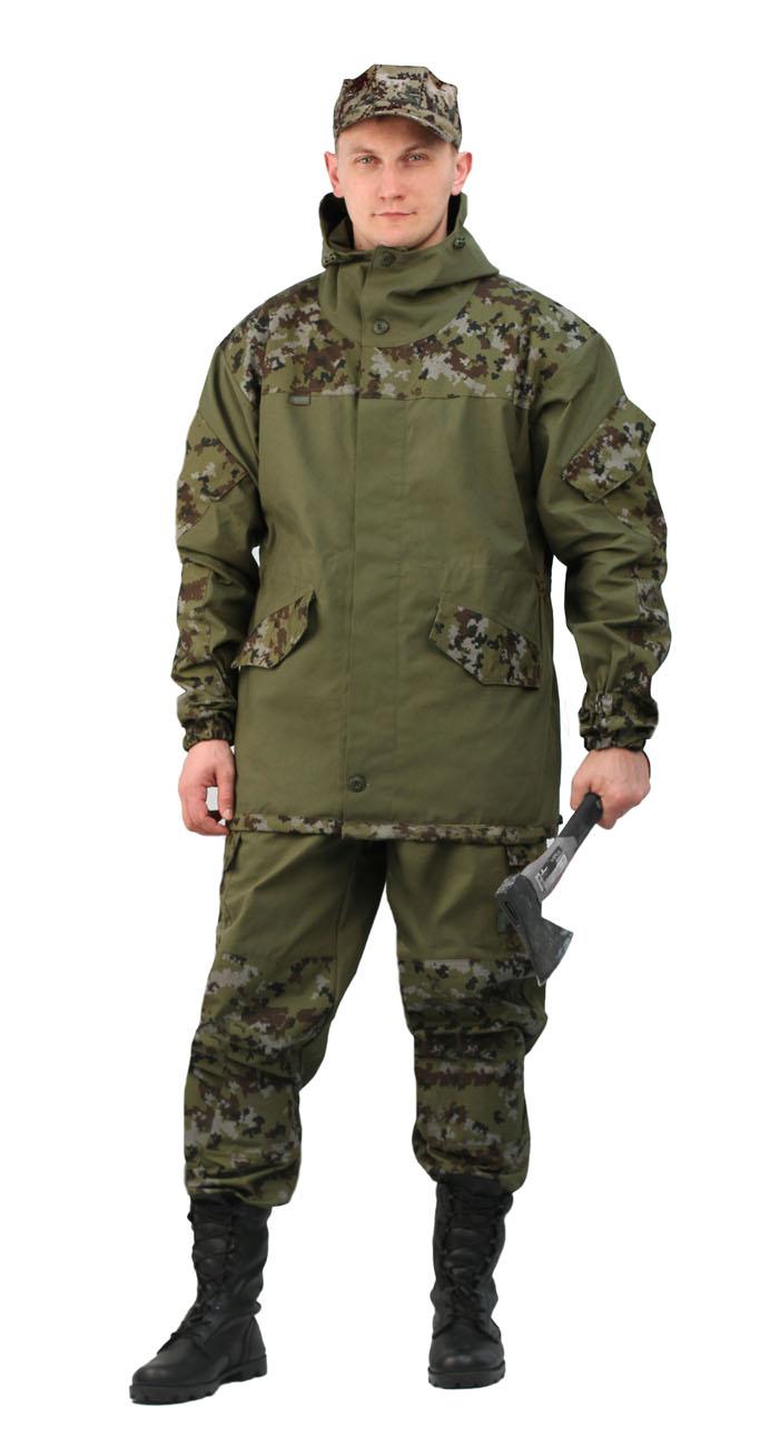 Костюм мужской Горка 3 летний палатка Костюмы неутепленные<br>Куртка: • свободного кроя; • застёжка центральная <br>супатная, на петлю и пуговицу; • кокетка, <br>накладки и карманы из отделочной ткани; <br>• 2 нижних прорезных кармана с клапаном, <br>на петлю и пуговицу ; • внутренний отлетной <br>карман на пуговицу; • на рукавах по 1 накладному <br>наклонному карману с клапаном на петлю <br>и пуговицу • в области локтя усиливающие <br>фигурные накладки; • низ рукавов на резинке; <br>• капюшон двойной, с козырьком, имеет утягивающую <br>кулису для регулировки по объему ; • подгонка <br>по талии с помощью кулиски; Брюки: • свободного <br>покроя; • гульфик с застёжкой на петлю и <br>пуговицу; • 2 верхних кармана в боковых <br>швах, • в области коленей, на задних половинках <br>брюк в области сидения – усиливающие накладки; <br>• 2 боковых накладных кармана с клапаном; <br>• 2 задних накладных фигурных кармана на <br>пуговицах; • крой деталей в области коленей <br>препятствует их вытягиванию; • Пылезащитная <br>юбка из бязи по низу брюк; • задние половинки <br>под коленом собраны резинкой; • пояс на <br>резинке; • низ на резинке;<br><br>Пол: мужской<br>Сезон: лето<br>Материал: «Палаточное полотно» (100% хлопок), пл. 270