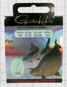 Крючок GAMAKATSU BKS-1310N Allround 22см Comp №14 d поводка Одноподдевные<br>Оснащенные универсальные поводки для ловли <br>в условиях соревнований, длинной 22 см и <br>диаметром сечения 0,12<br>