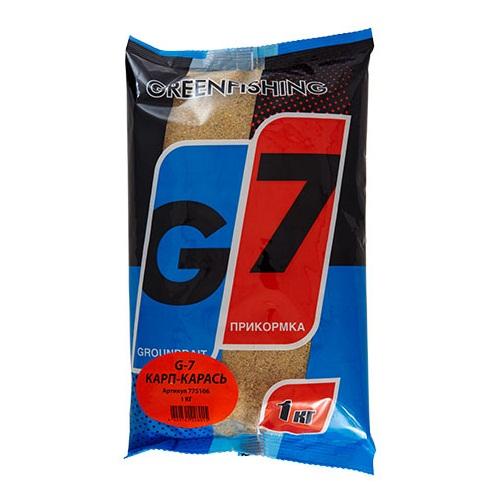 Прикормка Gf G-7 Карп-Карась 1КгПрикормки<br>Прикормка GF G-7 КАРП-КАРАСЬ 1кг пакет 1кг/ароматика:специальная/цвет:светлый/кратн. <br>короба 16шт. «G-7» - Новая линия недорогих <br>и качественных ароматизированных прикормов, <br>имеет сбалансированный состав, отличную <br>ароматизацию и самые популярные у рыболовов <br>ароматы. Идеально подходит для использования <br>на не запрессованных водоемах, где не имеет <br>смысла переплачивать за дорогие добавки <br>и ингредиенты. Рекомендуется использовать <br>как отличное дополнение к «старшим» сериям, <br>таким как GF, Salapin, Prime и Energy.<br><br>Сезон: лето