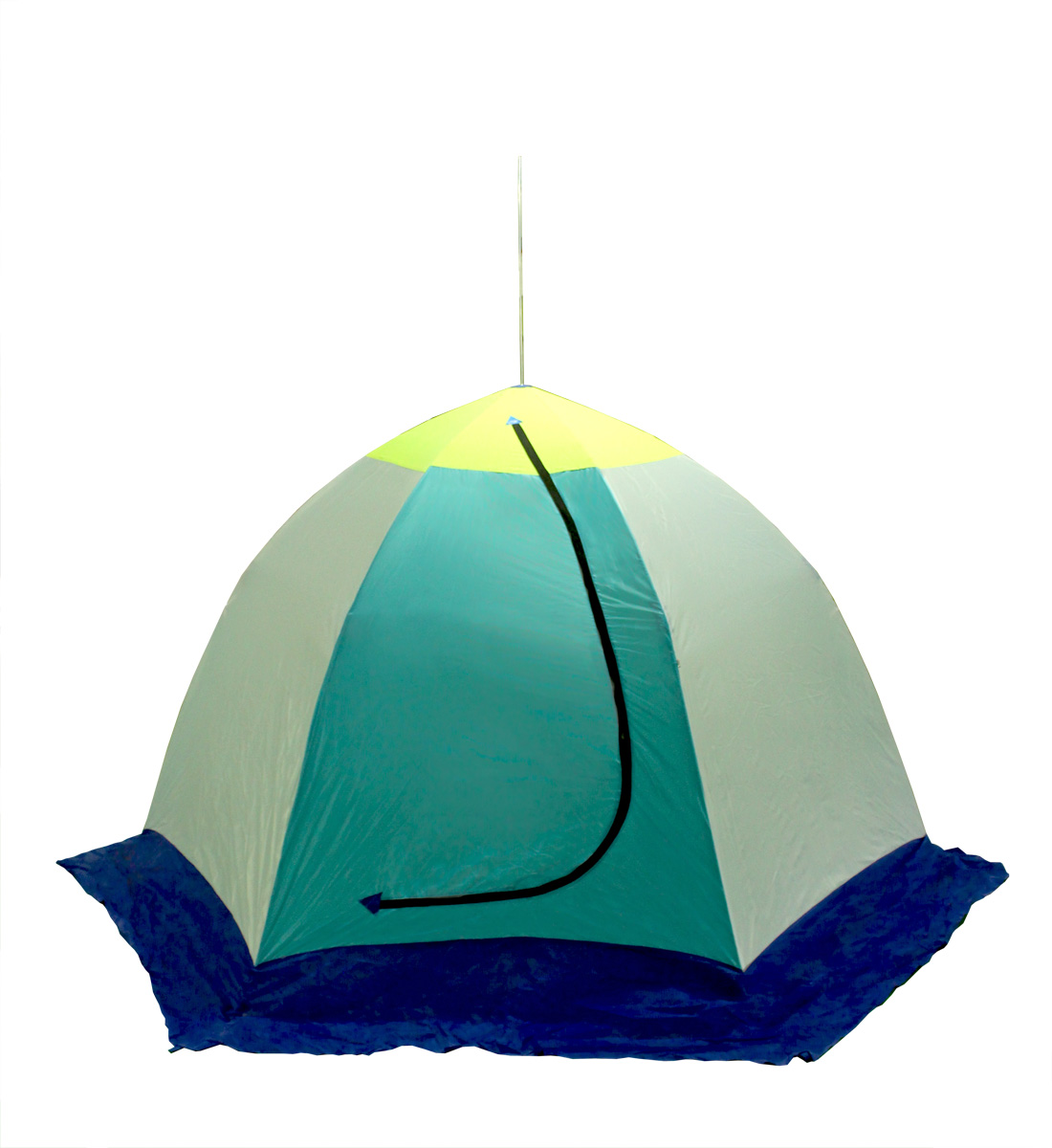 Палатка рыбака ELITE 3-м п/автомат брезент Палатки зимние<br>Предназначена для зимнего подледного лова. <br>Изготовлена из высокопрочного алюминиево-дюралевого <br>каркаса, алюминиевой комплектации и синтетической <br>непродуваемой ткани (оксфорд). Удлиненная <br>юбка (по низу увеличена на 25 см) 75 см верха <br>палатки - вставка из дышащей ткани (типа <br>брезент), что позволяет безопасно использовать <br>любые (исправные) обогревательные плиты. <br>Габариты в собранном виде: 1150х200 мм Вес: <br>5.3 кг. Габариты в разобранном виде: высота <br>- 1600 мм, диаметр (по диагонали, по низу) - 2600 <br>мм.<br>
