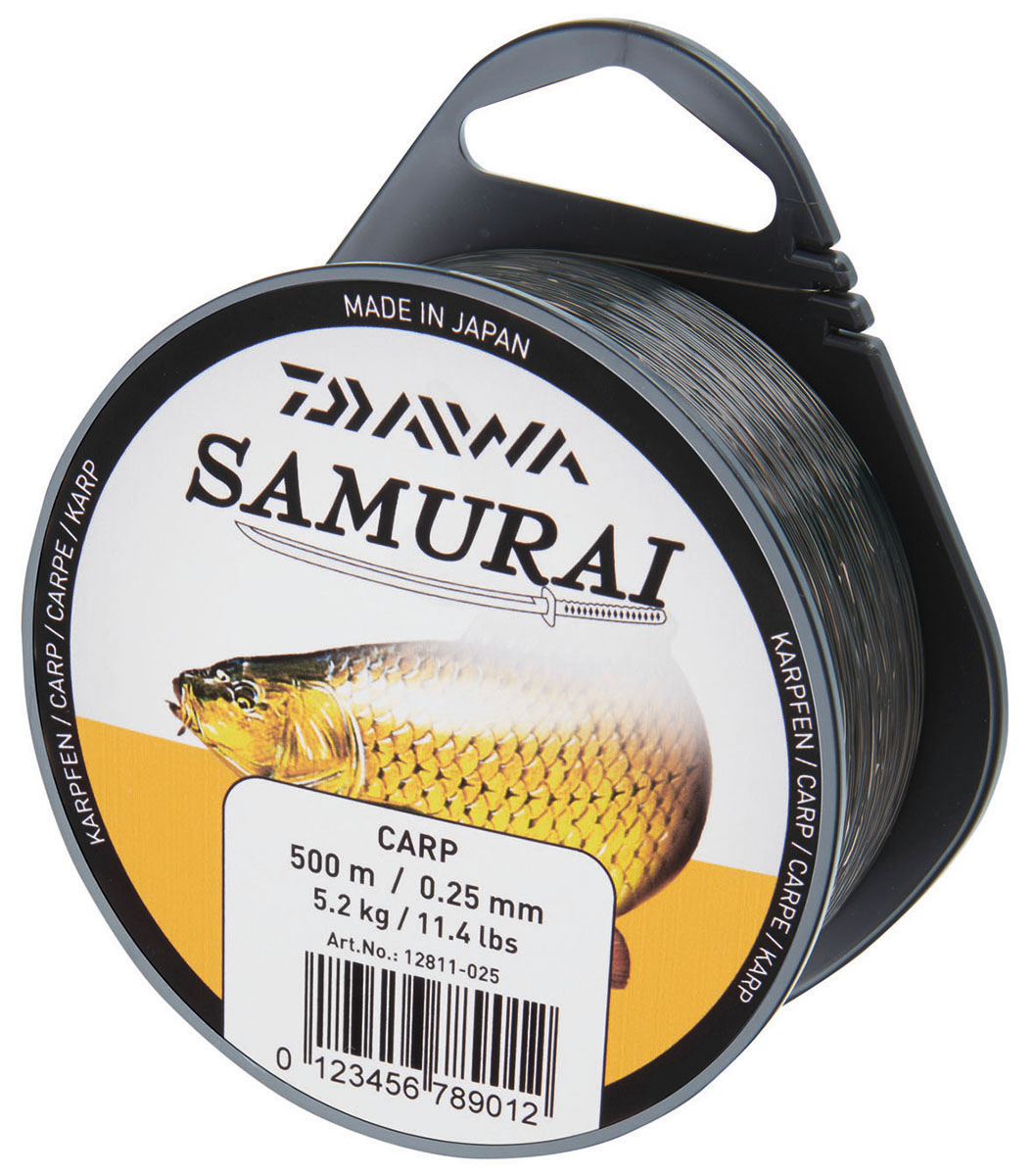 Леска DAIWA Samurai Carp 0,30мм 450м (камуфляж)Леска монофильная<br>Популярная леска для ловли разнообразной <br>рыбы, сделанная в Японии согласно высоким <br>стандартам качества. Великолепное соотношение <br>цены и качества. Прочная на разрыв Прочная <br>на узлах Цвет подобран в зависимости от <br>объекта ловли Сделана в Японии<br><br>Сезон: лето