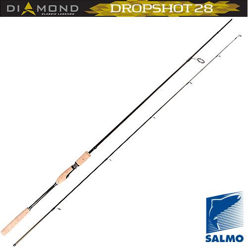 Спиннинг Salmo Diamond Dropshot 28 2.10Спинниги<br>Удилище спин. Salmo Diamond DROPSHOT 28 2.10 дл.2.10м/тест <br>10-28г/строй MF/кл.M/143г/2ч./дл.тр.110см Специальный <br>спиннинг, разработанный для ловли методом <br>Drop shot (дропшот). Строй этого спиннинга, средне-быстрый, <br>отвечает всем требованиям этого метода <br>ловли. Вершинка спиннинга – мягкая, позволяющая <br>зафиксировать слабую поклевку, а нижняя <br>часть бланка достаточно жесткая и быстрая, <br>что позволяет сделать качественную подсечку. <br>Комплектация спиннинга имеет крепление <br>колен по типу oVER sTEEK, укомплектован кольцами, <br>с вставками sIc, с креплением их на одной <br>ножке, рукояткой из натуральной пробки <br>и надежным винтовым катушкодержателем. <br>• Материал бланка удилища – углеволокно <br>(IM7) • Строй бланка средне-быстрый • Класс <br>спиннинга M • Конструкция штекерная • Соединение <br>колен типа OVER STEEK Кольца пропускные: - облегченное <br>большое - со вставками SIC Рукоятка: - пробковая <br>Катушкодержатель: - винтового типа • Проволочная <br>петля для закрепления приманок<br><br>Сезон: лето