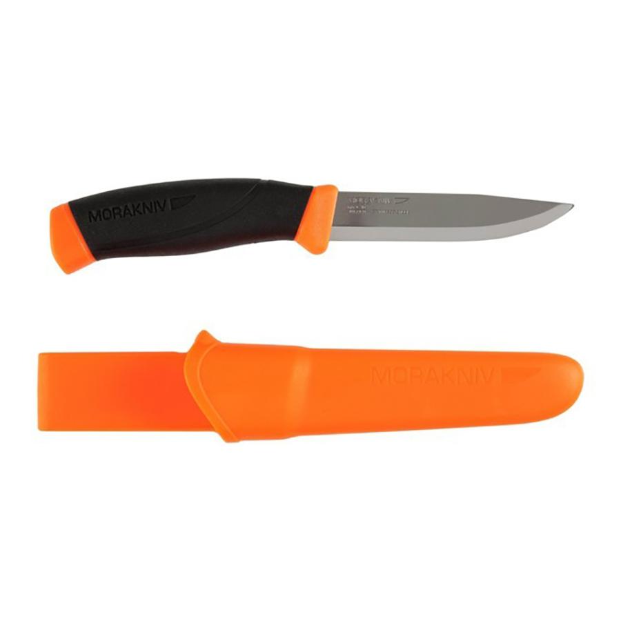 Нож Morakniv Companion Orange, нержавеющая сталь, 11824Ножи<br>Описание ножа Нож Morakniv Companion F Orange, нержавеющая <br>сталь: Универсальный туристических нож <br>mora Companion F 11824 Stainless изготовлен из нержавеющей <br>Шведской стали. Которая благодаря технологии <br>своего производства прослужит вам очень <br>долго. Заточка клинка выполнена в скандинавском <br>стиле, что позволило дольше сохранять заточку <br>и увеличило качество работы. Благодаря <br>металлу из которого сделана рабочая поверхность <br>ножа мора, его возможно хранить и использовать <br>в влажной среде. К тому же благодаря прорезиненному <br>покрытию на рукоятке ножа, он не выскользнет <br>из вашей руки, даже когда она будет мокрая. <br>А введу эргономичного дизайна ручки, это <br>позволит вам производить длительные работы <br>с ножом и при этом руки будут уставать намного <br>меньше, чем когда вы будите работать с ножами <br>других производителей. Яркий и красочный <br>чехол, не позволит вам потерять свой нож. <br>Защёлка на ремне которая присутствует у <br>чехла, не позволит ему соскочить, даже кода <br>вы будете пробираться через кустарники. <br>Не является холодным оружием и не является <br>предметом запрещенным к продаже на территории <br>Российской Федерации.<br><br>Материал: пластик