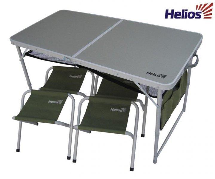 Набор мебели, стол + 4 табурета HS-TA-21407+HS-21124 Набор мебели<br>Набор мебели (стол и 4 табурета) - отличное <br>решение для выезда на природу. Табуреты <br>складываются внутрь стола, что существенно <br>экономит место при транспортировке. Чехол <br>с ручками для хранения и переноски набора <br>мебели. Размеры: 120х60х70см. Каркас: алюминиевая <br>труба (25, 22, 19 мм), матовая обработка. Столешница: <br>ламинированная ДСП. Допустимая нагрузка: <br>30кг. Вес:7,8 кг.<br>