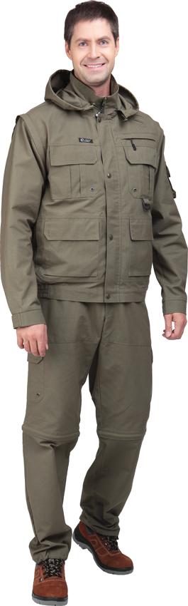 Костюм Sobol ТРОФЕЙ NEW, хаки (56-58, 170-176)Костюмы неутепленные<br>Изготовлен из ткани рип-стоп, которая отличается <br>прочностью, обеспечивает защиту от дождя <br>и ветра. Отлично подойдет для охоты и рыбалки. <br>В комплект входит куртка и брюки. КУРТКА: <br>- застегивается на молнию с ветрозащитным <br>клапаном; - нагрудные накладные карманы; <br>- нижние накладные карманы; - регулируемый <br>капюшон; - отстегивающиеся рукава; - регулируемые <br>манжеты; - эластичный низ куртки. БРЮКИ: <br>- шлевки на поясе; - застежка - гульф на тесьму-молнию; <br>- боковые карманы; - накладные карманы; - <br>задние карманы с застеждкой на кнопку; - <br>регулируемая ширина брюк; - отстегивающийся <br>низ.<br><br>Пол: мужской<br>Размер: 56-58<br>Рост: 170-176<br>Сезон: демисезонный<br>Цвет: хаки