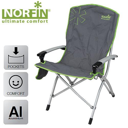 Кресло Складное Norfin Ulvila Nf АлюминиевоеСтулья, кресла<br>Складное кресло - прекрасный выбор для <br>ценящих комфорт рыбаков. Алюминиевый каркас <br>и сиденье большого размера позволяют выдерживать <br>большие нагрузки. Удобные подлокотники, <br>боковой карман для мелочей. Комплектуется <br>сумкой-чехлом для удобства транспортировки. <br>Особенности: - габариты 58x40x59/107 см; - размер <br>в сложенном виде 114x29x15 см; - максимальная <br>нагрузка 120 кг; - каркас алюминий 30x19мм.<br><br>Сезон: лето<br>Цвет: зеленый<br>Материал: 600D polyester