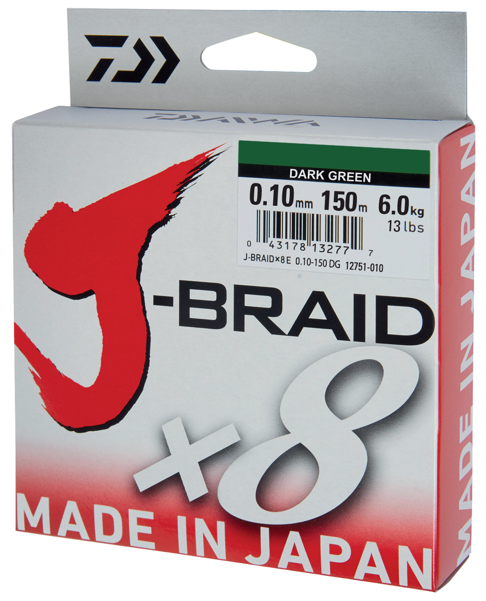 Леска плетеная DAIWA J-Braid X8 0,10мм 150м (зеленая)Леска плетеная<br>Новый J-Braid от DAIWA - исключительный шнур с <br>плетением в 8 нитей. Он полностью удовлетворяет <br>всем требованиям. предьявляемым высококачественным <br>плетеным шнурам. Неважно, собрались ли вы <br>ловить крупных морских хищников, как палтус, <br>треска или спйда, или окуня и судака, с вашим <br>новым J-Braid вы всегда контролируете рыбу. <br>J-Braid предлагает соответствующий диаметр <br>для любых техник ловли: море, река или озеро <br>- невероятно прочный и надежный. J-Braid скользит <br>через кольца, обеспечивая дальний и точный <br>заброс даже самых легких приманок. Идеален <br>для спиннинговых и бейткастинговых катушек! <br>Невероятное соотношение цены и качества! <br>-Плетение 8 нитей -Круглое сечение -Высокая <br>прочность на разрыв -Высокая износостойкость <br>-Не растягивается -Сделан в Японии<br>