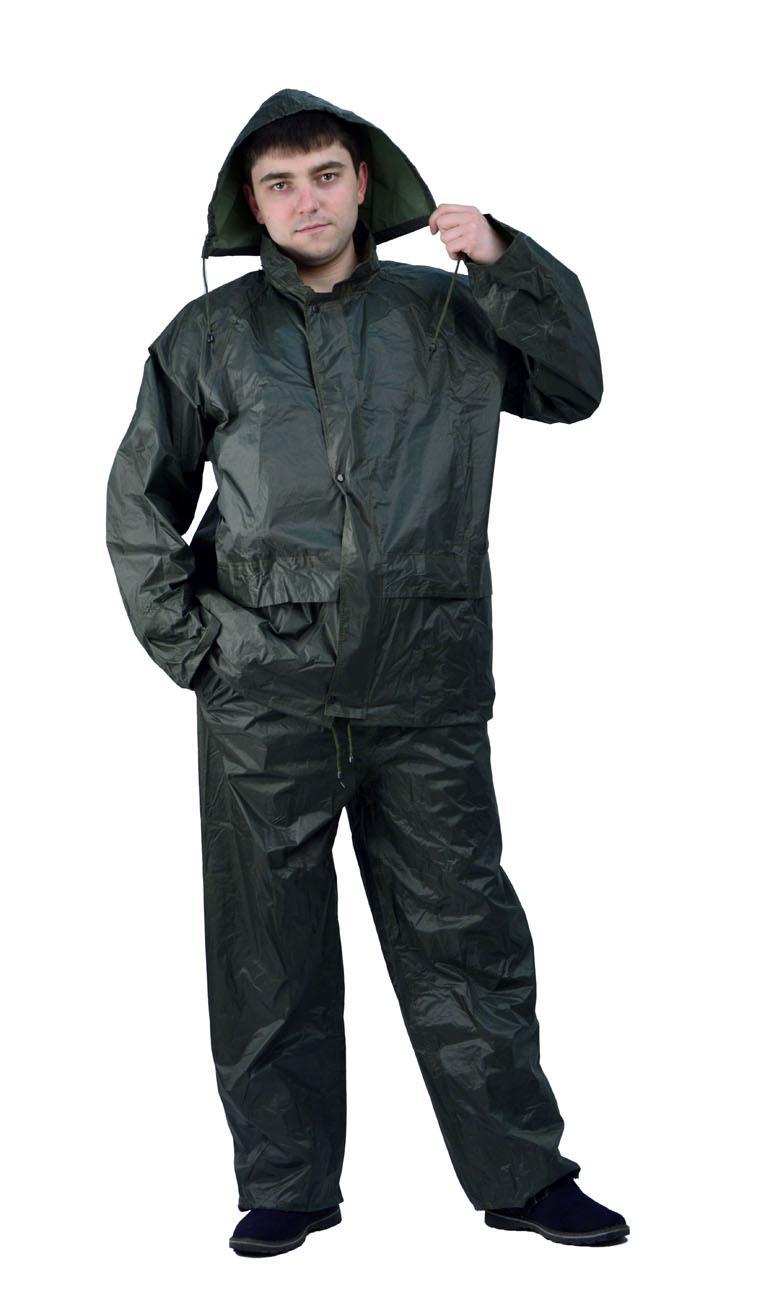 Костюм Рыбак нейлоновый зеленый (L)Костюмы неутепленные<br>Куртка и брюки. На воротнике карман на молнии <br>для капюшона. Швы проклеены изнутри.<br><br>Пол: мужской<br>Размер: L<br>Сезон: демисезонный<br>Цвет: зеленый<br>Материал: текстиль