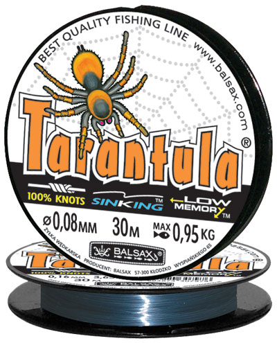 Леска BALSAX Tarantula 30м 0,08 (0,95кг)Леска монофильная<br>Леска Tarantula - эта леска как никакая другая <br>защищена от скручивания. В случае применения <br>этой лески растяжимость является отличным <br>достоинством и как амортизатор защищает <br>остнастку от обрыва.Даже в самом холодном <br>климате, при температуре до -40, она сохраняет <br>свои свойства.<br><br>Сезон: зима