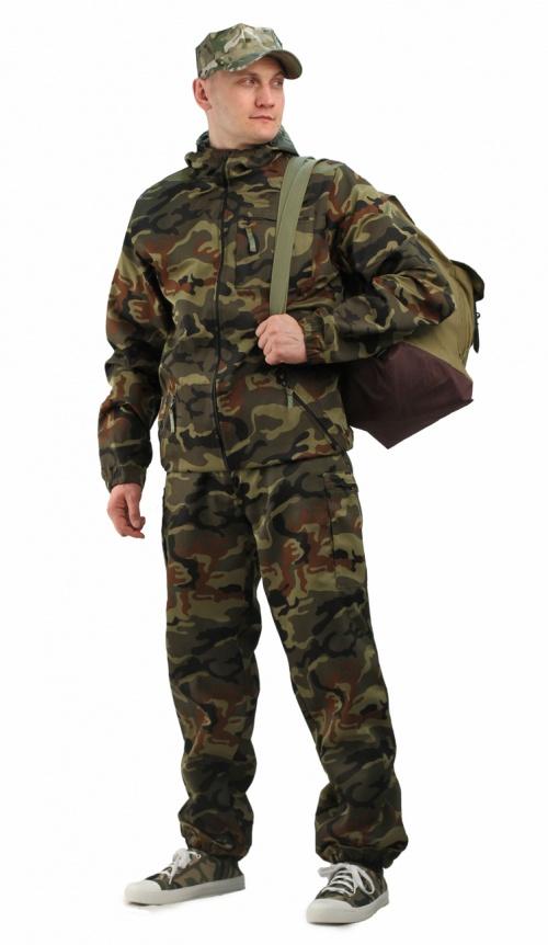 Костюм мужской Турист 1 летний, кмф тк. Костюмы неутепленные<br>Камуфлированный унверсальный летний костюм <br>для охоты, рыбалки и активного отдыха . Состоит <br>из куртки с капюшоном и брюк. Куртка: • Регулируемый <br>капюшон. • Центральная застежка молния. <br>• Боковые и нагрудный прорезные карманы <br>на молнии. • Низ куртки и манжеты на резинке. <br>Брюки: • Два врезных кармана и два накладных <br>на молнии. • Пояс и низ брюк на резинке.<br><br>Пол: мужской<br>Размер: 44-46<br>Рост: 182-188<br>Сезон: лето