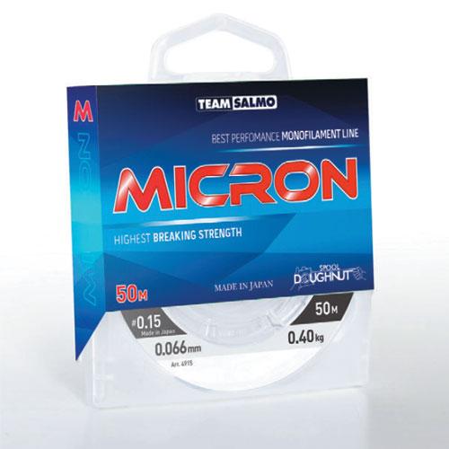 Леска Монофильная Team Salmo Micron 050/015Леска монофильная<br>Леска моно. Team Salmo MICRON 050/015 дл.50м/д.0.153мм(#0.8)/тест <br>2,05кг./цв. прозр./инд уп. В ассортименте лески <br>нового поколения имеются минимальные диаметры, <br>поэтому она прекрасно подходит для зимней <br>рыбалки. Леска имеет специальное защитное <br>покрытие, благодаря чему она имеет следующие <br>достоинства: обладает повышенной износостойкостью, <br>не взаимодействует с водой – долгое время <br>не теряет своих механических свойств, сохраняет <br>параметры на морозе и практически незаметна <br>для рыбы. Леска производится в Японии с <br>использованием самого высококачественного <br>сырья и новейших технологий. • высочайшая <br>прочность • высокая износостойкость • <br>идеально калиброванная, гладкая поверхность <br>• продолжительный срок эксплуатации • <br>отсутствие «памяти» Made in Japan<br><br>Сезон: зима<br>Цвет: прозрачный