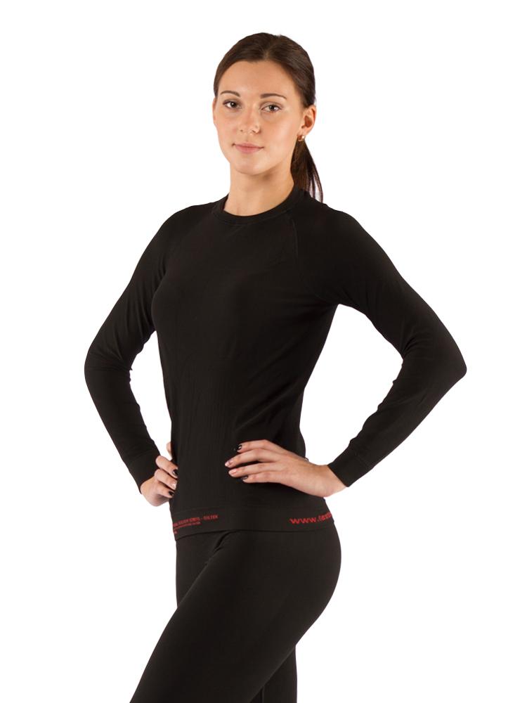 Футболка женская Lasting Atala, черная АвантмаркетФуфайка<br>Описание футболки Lasting Atala: Крой термофутболки <br>Atala Lasting для женщин учитывает все особенности <br>строения тела, а также снабжен анатомическими <br>вентиляционными зонами. Эластичный материал <br>идеально облегает фигуру без ощущения липкости <br>и прения. Волокно Light Seamless 150 g, из которого <br>сделана термофутболка Atala Lasting, представляет <br>собой смесь полипропилена и эластана. Полипропиленовые <br>нити не впитывают влагу, а выводят ее на <br>поверхность, благодаря чему кожа остается <br>сухой, даже во время повышенных нагрузок. <br>Термофутболка для женщин Atala Lasting – всесезонное <br>функциональное белье. В теплое время года <br>ее можно использовать как спортивную одежду, <br>а зимой носить, как термобелье. Мягкий материал <br>и бесшовное исполнение делают изделие очень <br>приятным к телу. Полипропилен обладает <br>такими приятными свойствами, как износостойкость <br>и отсутствие неприятного запаха. Благодаря <br>им, футболка Atala Lasting надолго сохранит свои <br>качества и останется вашей любимой спортивной <br>одеждой. Выбирайте женскую футболку Atala <br>Lasting, чтобы в любое время года с удовольствием <br>заниматься спортом и активно отдыхать. <br>Особенности: женская; круглое горло; анатомическая <br>форма; однослойная кулирная вязка «сетка»; <br>защитные вентиляционные зоны; антибактериальный <br>эффект; материал не впитывает влагу; минимальный <br>вес и объем. Применение: треккинг, зимние <br>виды спорта, альпинизм, занятия спортом <br>Материалы: 97% силтекс (полипропилен), 3% эластан <br>Температурный режим: 0°C / +30°C Рекомендуется <br>покупать в комбинации с термоштанами AURA <br>Таблица размеров женского термобелья Lasting <br>Размер S M L XL Рост 158 - 162 162 - 166 166 - 170 171 - 175 Обхват <br>груди 84-90 90-96 96-100 100-104 Обхват талии 72-76 76-80 <br>80-84 84-88 Обхват бедер 90-94 94-100 100-104 104-109 Длина <br>штанины 105 107 109 111<br><br>Матери