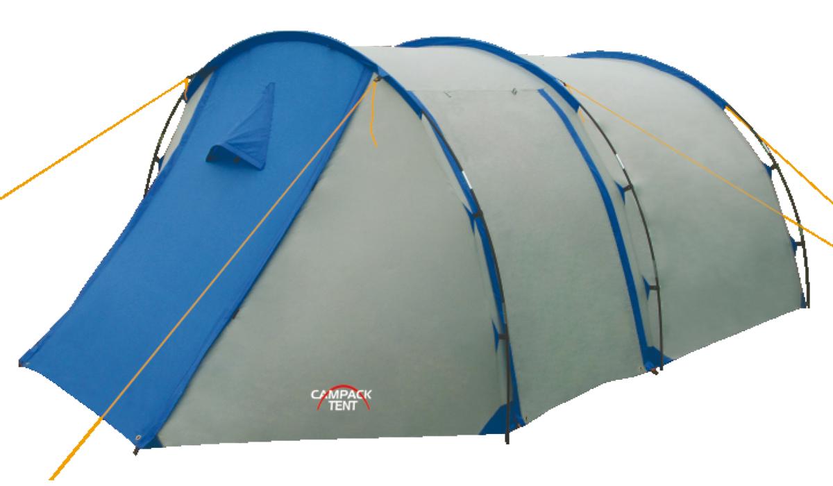 Палатка туристическая CAMPACK-TENT Field Explorer 3Палатки<br>Классическая «полубочка». Палатка для <br>несложных походов и семейного отдыха на <br>природе рассчитана на использование при <br>положительных температурах. Высокопрочное <br>дно изготовлено из армированного полиэтилена, <br>не пропускает влагу и устойчиво к истиранию. <br>Каркас, изготовленный из фибергласса, обеспечивает <br>надежность и устойчивость. Палатка оснащена <br>увеличенными вентиляционными окнами, клапаном <br>от косого дождя и двухслойной дверью с цветными <br>молниями. Внешнее крепление дуг значительно <br>облегчает установку палатки. Внутри палатки <br>имеется подвеска для фонаря и карманы для <br>хранения мелочей. Модель Field Explorer имеет <br>три раздельных входа. Характерная особенность <br>- это огромный тамбур, где можно спрятать <br>от непогоды снаряжение и вещи всех обитателей <br>палатки, а при необходимости - использовать <br>его как место для приготовления пищи. В <br>этом году мы уделили повышенное внимание <br>надежности палатки и сделали дополнительные <br>усиления ткани в зонах повышенной нагрузки <br>– по периметру, в нижней части тента. Проклеенные <br>швы гарантируют герметичность и надежность <br>в любой ситуации. Ткань тента:190T P. Taffeta PU <br>3000MM Ткань палатки:170T P. Taffeta Ткань дна:Tarpauling <br>Вес:4,4 кг Диаметр дуг: 7,9 мм Ремнабор: Самоклеющиеся <br>заплатки 100 х 100 мм из ткани 190T P. Taffeta PU 3000MM<br>
