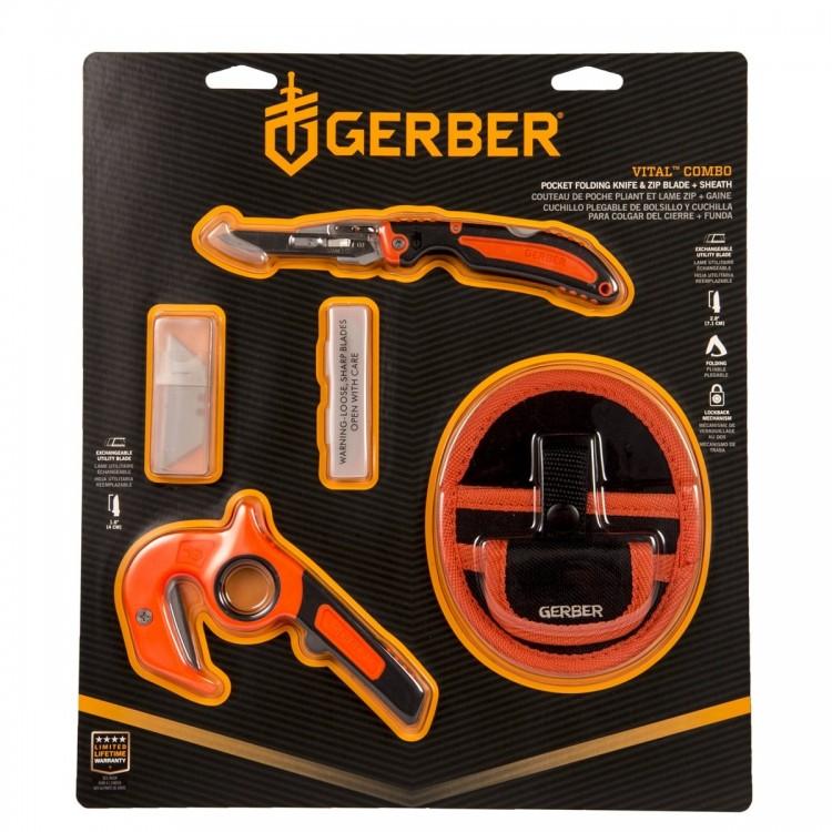 Набор ножей Gerber Vital ComboНожи<br>Описание набора ножей Gerber Vital Combo: Главными <br>качествами всех ножей бренда Gerber являются <br>надежность и удобность. Ведь для их создания <br>используются только высококачественные <br>материалы и применяются новейшие технологии <br>производства. Не исключением стали и ножи <br>из набора Gerber Vital Combo. В представленном комплекте <br>присутствуют два ножа. Одна модель с фиксированным <br>клинком и одна складная. Нож с фиксированным <br>клинком имеет довольно необычную форму <br>и предназначен для разрезания различных <br>материалов, например, шкур, веревок и т.п. <br>(рекомендуется резать в направлении «на <br>себя»). В комплекте с этим ножом штатно предоставляется <br>специальный нейлоновый чехол для хранения. <br>Модель со складной конструкцией является <br>довольно универсальным инструментом, который <br>подходит как для приготовления пищи, так <br>и для проведения мелкого ремонта в домашних <br>или полевых условиях. Рукояти представленных <br>ножей изготовлены из ударопрочных полимерных <br>материалов и окрашены в оранжевый и черный <br>цвет, ввиду чего их легко будет найти среди <br>прочего снаряжения. Благодаря тому, что <br>рукояти ножей прорезинены, Vital Pocket Folder и <br>Vital Zip удобно лежат в руке и не выскальзывают <br>из ладони даже при напокании. Следует отметить, <br>что обе модели имеют возможность замены <br>лезвия: для этого лишь необходимо иметь <br>отвертку с крестообразным шлицем. В комплекте <br>с набором Gerber Vital Combo предоставляются 6 сменных <br>лезвий, которые подходят для обоих ножей.Особенности: <br>набор ножей Gerber Vital Combo подходит для активного <br>отдыха в условиях дикой природы; количество <br>ножей в комплекте – 2; первая модель - Vital <br>Pocket Folder, имеет складную конструкцию и достигает <br>в длину 17,5 см (длина клинка 7,1 см), и весит <br>37 грамм; вторая модель - Vital Zip, имеет нескладную <br>конструкцию, её длина составляет 14 см и <br>весит нож 82,2 гра