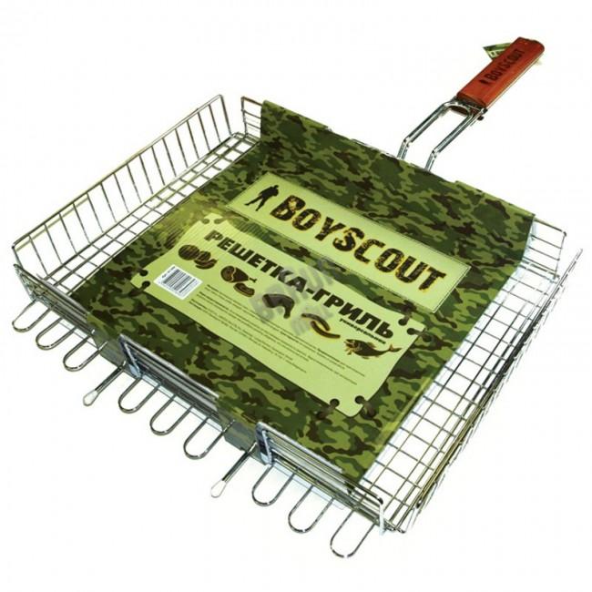 Решетка-гриль BOYSCOUT 400х300х50мм универсальная, Решетки, сковороды для гриля<br>Изготовлена из высококачественной стали <br>с пищевым хромированием Идеально подходит <br>для мангалов и барбекю Решетка-гриль BOYSCOUT <br>61304 покорит Вас своей многофункциональностью <br>и удобством. В этой решетке Вы можете запекать, <br>зажаривать все что угодно, тем более что <br>эта решетка отлично подходит для мангалов. <br>Решетку удобно мыть, а также она изготовлена <br>из безопасного материала.<br>