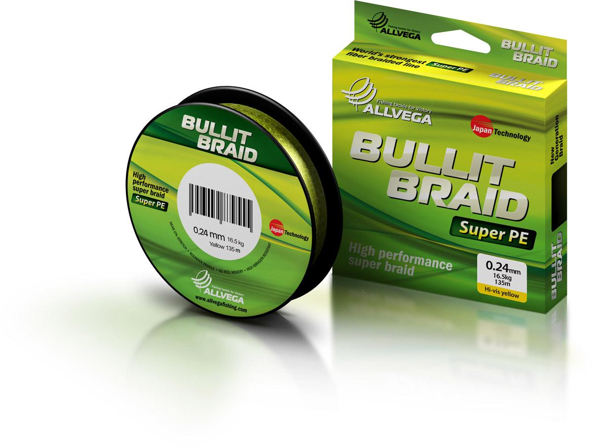 Леска плетеная ALLVEGA Bullit Braid 135м 0,24мм 16,5кг Леска плетеная<br>Леска BULLIT BRAID разработана с учетом новейших <br>японских технологий в сфере строения волокон. <br>Благодаря микроволокнам полиэтилена (Super <br>PE) леска имеет очень плотное плетение, не <br>впитывает воду, имеет гладкую круглую поверхность <br>и одинаковое сечение по всей длине.<br>