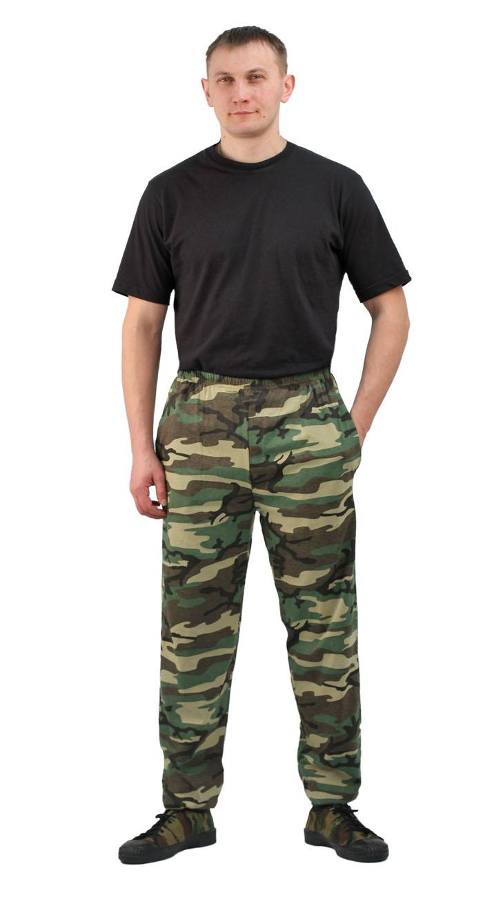 Брюки трикотажные ТИР кмф 100% хлопок (Неизвестная Легкие и удобные трикотажные брюки из 100% <br>хлопка. Плотность 160гр/кв.м. (кулирная гладь). <br>Подходят для активного отдыха, занятий <br>спортом и домашнего применения. Пояс брюк <br>на резинке, по низу штанин предусмотрены <br>трикотажные манжеты. Различные варианты <br>камуфляжных расцветок.<br><br>Пол: мужской<br>Сезон: лето<br>Материал: хлопок