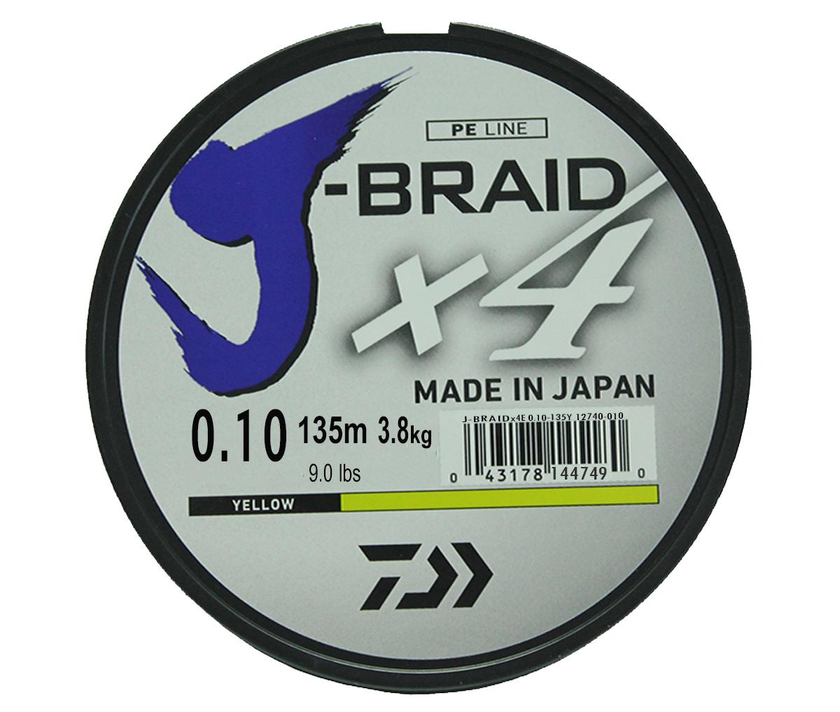 Леска плетеная DAIWA J-Braid X4 0,10мм 135 (флуор.-желтая)Леска плетеная<br>Новый 4х жильный шнур J-Braid, DAIWA - шнур высокого <br>класса с удивительным соотношением цены <br>и качества. Качество плетения полностью <br>соответствует японским стандартам и удовлетворяет <br>всем требованиям. Представленные диаметры <br>позволяют использовать шнур для всех техник <br>ловли, начиная от ultra- light ловли окуня, до <br>морской ловли палтуса, трески и т.д.<br>