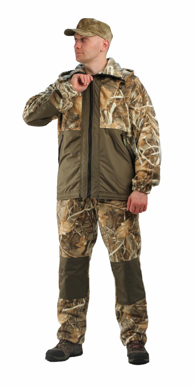 Флисовый костюм Панда кмф Осока с накладками,350г/м2 Костюмы флисовые<br>Куртка мужская прямого силуэта из флиса <br>в комбинации с плащевой тканью. Длина изделия <br>до линии бедер. Полочка с центральной открытой <br>застежкой на тесьму-молнию, горизонтальным <br>членением и настрочной усиливающей кокеткой <br>на верхней части. Нижняя часть полочки с <br>настрочным усиливающим карманом. Вход в <br>карман обработан на тесьму-молнию. Спинка <br>со средним швом и усиливающей настрочной <br>кокеткой. Рукав втачной одношовный, с усиливающей <br>фигурной накладкой в области локтя. В низ <br>рукава вставлена тканево-резиновая тесьма. <br>По верхнему краю воротника-стойки и низу <br>изделия настрочена утягивающая кулиса. <br>Брюки свободного покроя с карманами в боковых <br>швах. Верхний срез брюк с цельновыкроенным <br>поясом, в пояс вставлена тканево-резиновая <br>тесьма, простроченная посередине. Наколенники <br>из отделочной ткани.<br><br>Пол: мужской<br>Размер: 52-54<br>Рост: 182-188<br>Сезон: демисезонный<br>Цвет: бежевый<br>Материал: Флис, пл.350г/м2, антипилинговый