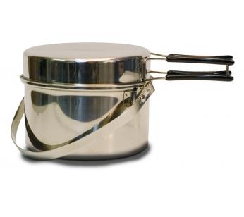 CC-PF290 Набор посудыНаборы посуды<br>CC-PF290 Набор посуды<br> <br>Вы будете приятно удивлены высоким качеством <br>посуды, изготовленной из высококачественного <br>сплава нержавеющей стали, давно проявившим <br>себя, как прочный и безопасный материал. <br>Характеристики <br>- Два предмета <br>- Вес 950 гр <br>- Котелок 2900 мл <br>- Сковородка-крышка <br>- Нержавеющая сталь <br>Описание <br>- Складные ручками, покрытые теплоизоляционным <br>материалом <br>- Крышка может быть использована в качестве <br>сковороды <br>- Вертикальная ручка котелка позволяет <br>подвесить его над костром<br>