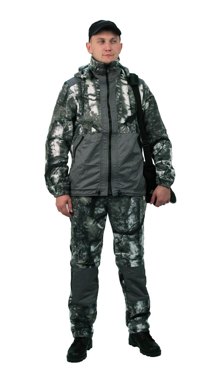 Флисовый костюм Панда кмф Серый лес с Костюмы флисовые<br>Куртка мужская прямого силуэта из флиса <br>в комбинации с плащевой тканью. Длина изделия <br>до линии бедер. Полочка с центральной открытой <br>застежкой на тесьму-молнию, горизонтальным <br>членением и настрочной усиливающей кокеткой <br>на верхней части. Нижняя часть полочки с <br>настрочным усиливающим карманом. Вход в <br>карман обработан на тесьму-молнию. Спинка <br>со средним швом и усиливающей настрочной <br>кокеткой. Рукав втачной одношовный, с усиливающей <br>фигурной накладкой в области локтя. В низ <br>рукава вставлена тканево-резиновая тесьма. <br>По верхнему краю воротника-стойки и низу <br>изделия настрочена утягивающая кулиса. <br>Брюки свободного покроя с карманами в боковых <br>швах. Верхний срез брюк с цельновыкроенным <br>поясом, в пояс вставлена тканево-резиновая <br>тесьма, простроченная посередине. Наколенники <br>из отделочной ткани.<br><br>Пол: мужской<br>Размер: 60-62<br>Рост: 170-176<br>Сезон: лето<br>Материал: Флис, пл.350г/м2, антипилинговый