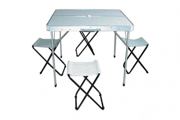 Набор Woodland Picnic Table Set Luxe, стол и стулья, 85 x 82.5 x 70 см (алюминий, с отв. под зонт)