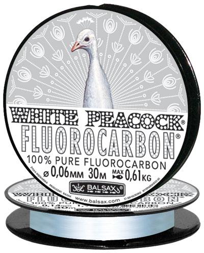 Леска BALSAX White Peacock Fluorocarbon 30м 0,06 (0,61кг)Леска монофильная флюорокарбоновая<br>Леска White Peacock Fluorocarbon - абсолютна невидима <br>в воде, тонет очень быстро, не теряет прочности, <br>высокая сопротивляемость. Выдерживает <br>диапазон температур от -40 до + 60 град.<br><br>Сезон: зима