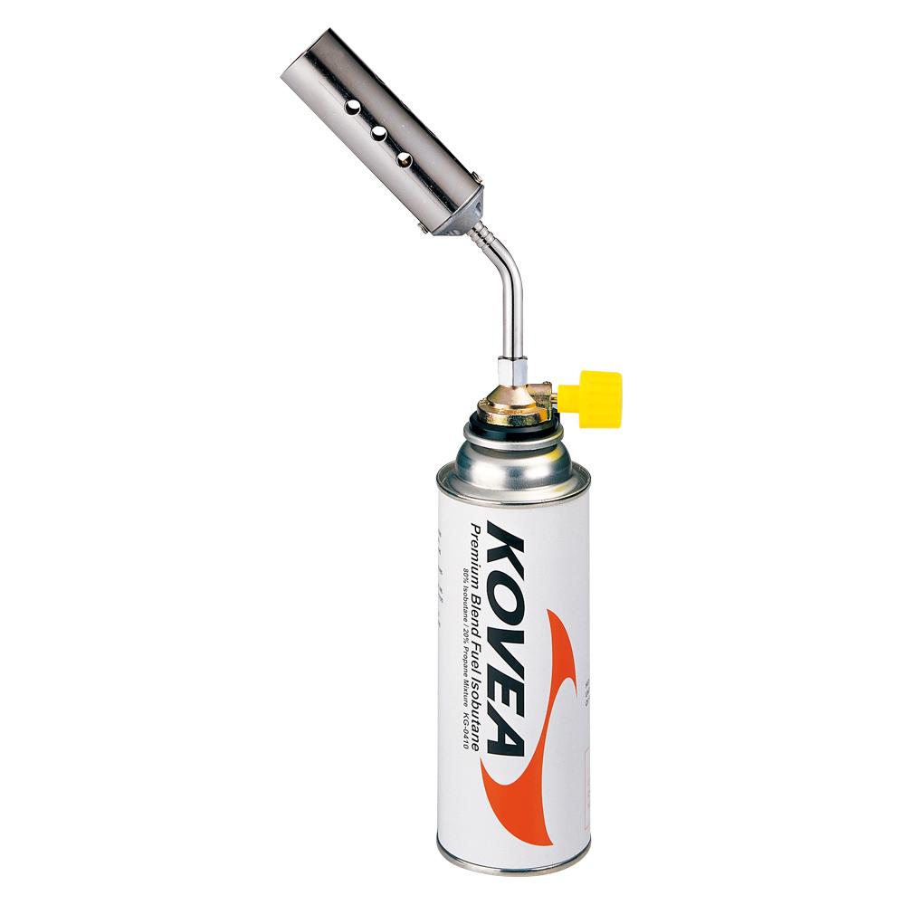 Резак газовый Kovea KT-2408Резаки<br>Газовый резак KT-2408 Canon Torch - самый мощный <br>в линейке универсальный резак широкого <br>применения, выполненный в виде паяльной <br>лампы. Предпочтительно использовать для <br>технических задач, где применима его высокая <br>огневая мощь. Температура пламени достигает <br>1300 °C. Газовый резак оборудован системой <br>предварительного подогрева газа, что позволяет <br>свободно вращать резак для комфортной работы, <br>сохраняя при этом стабильный поток пламени. <br>Газовый резак рассчитан для работы с высоким <br>цанговым газовым баллоном Kovea KGF-0220. Вес <br>235 г Размер 117x40x250 мм Свободное вращение <br>Возможно Пьезоэлемент Нет Расход топлива <br>300 гр/ч Мощность 4.11 кВт<br>