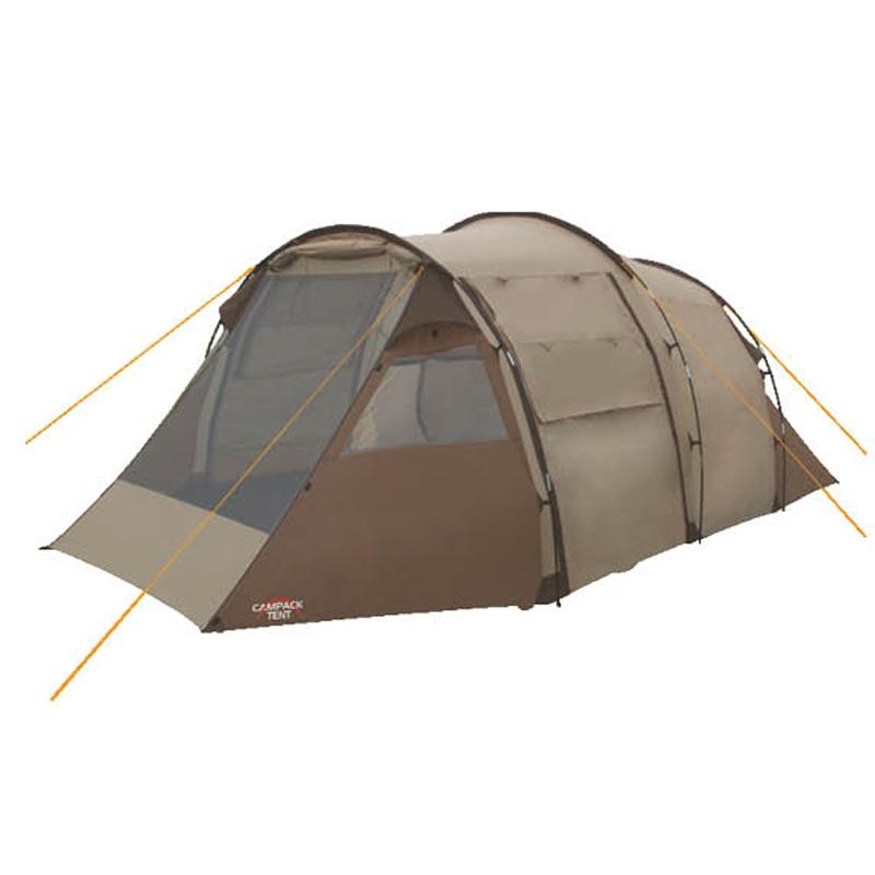 Палатка кемпинговая CAMPACK-TENT Land Voyager 4Палатки<br>Кемпинговая палатка Land Voyager 4 представляет <br>собой конструкцию в форме «полубочки» с <br>вместительным тамбуром. Предназначена <br>для защиты от непогоды, временного проживания, <br>а также хранения вещей и снаряжения в походных <br>условиях. Палатка вместительностью до 4-х <br>человек. Большой тамбур можно использовать <br>как столовую или разместить в ней походную <br>кухню. Тент, дно палатки и дополнительный <br>пол тамбура изготовлены из водонепроницаемого <br>материала. Высококачественный каркас изготовлен <br>из фибергласса и обеспечивает надежность <br>и устойчивость. Модернизирована схема крепления <br>внешних дуг, что облегчает установку палатки. <br>Кемпинговая палатка Land Voyager 4 оснащена тремя <br>входами, что создает отличные условия для <br>проветривания, а противомоскитная сетка <br>на главном входе защитит от насекомых. Предусмотрены <br>также дополнительные вентиляционные окна, <br>полочка, кольцо для фонаря, карманы во внутренней <br>палатке. Проклеенные швы гарантируют герметичность <br>и надежность в любой ситуации. Ткань тента: <br>190T P. Taffeta PU 3000MM Ткань палатки: 170T P. Taffeta + MESH <br>Ткань дна: Tarpauling Диаметр дуг каркаса: FRP <br>11 мм Вес 11,7 кг Ремнабор: Самоклеющиеся заплатки <br>100 х 100 мм из ткани 190T P. Taffeta PU 3000MM<br>