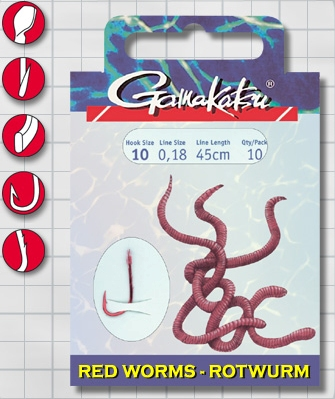 Крючок GAMAKATSU BKS-5260R Red Worm 45см №8 d поводка Одноподдевные<br>Оснащенный поводок для ловли на красного <br>червя, длинной 45 см и диаметром сечения <br>0,20<br>