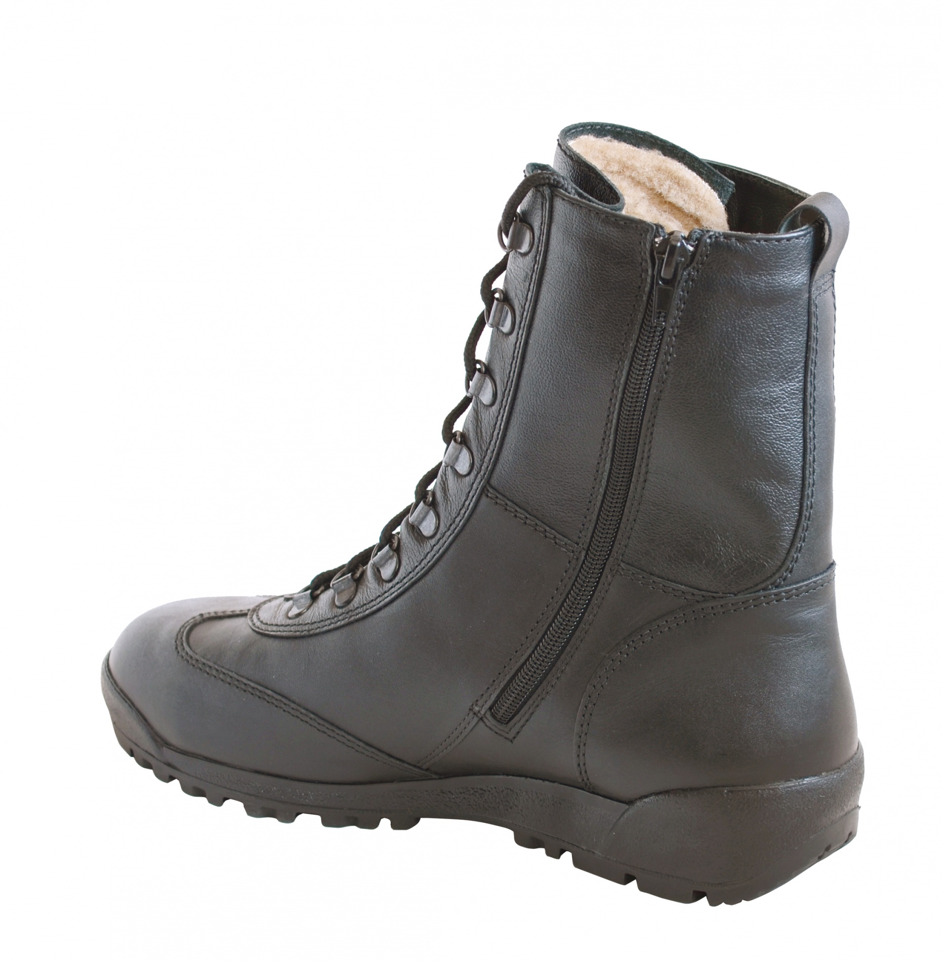 Ботинки штурмовые с высоким берцем Бутекс Берцы<br>Зимние ботинки на подошве из резины клеевого <br>метода крепления. Высота ботинка 21 см. Ботинки <br>изготовлены из гладкой натуральной хромовой <br>гидрофобной кожи толщиной 1,6 мм. В качестве <br>утеплителя используется набивной шерстяной <br>мех с содержанием (70%)шерсти мериноса. С <br>тыльной стороны берца находится застёжка <br>молния, закрытая изнутри кожаным клапаном. <br>Молния позволяет снимать и одевать обувь <br>без помощи шнуровки. Д - образная фурнитура <br>для шнуровки позволяет быстро снять и надеть <br>ботинок, не вынимая шнурка из петель. Глухой <br>клапан препятствует попаданию внутрь ботинка <br>посторонних предметов и снега. Данная модель <br>пользуется успехом у сотрудников силовых <br>структур и у людей, увлекающихся активными <br>видами отдыха на природе.<br><br>Пол: мужской<br>Размер: 40<br>Сезон: зима<br>Цвет: черный