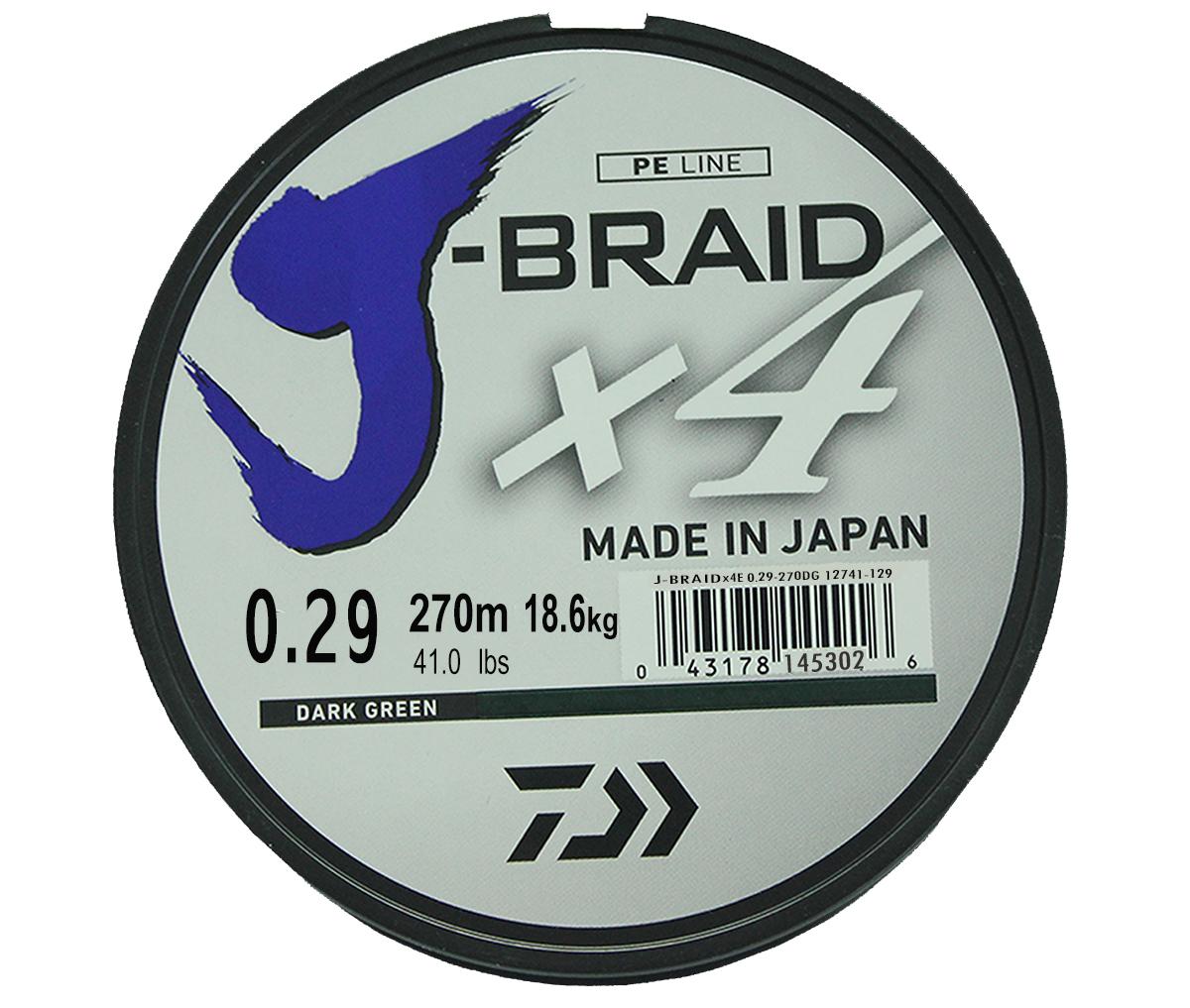 Леска плетеная DAIWA J-Braid X4 0,29мм 270 (зеленая)Леска плетеная<br>Новый 4х жильный шнур J-Braid, DAIWA - шнур высокого <br>класса с удивительным соотношением цены <br>и качества. Качество плетения полностью <br>соответствует японским стандартам и удовлетворяет <br>всем требованиям. Представленные диаметры <br>позволяют использовать шнур для всех техник <br>ловли, начиная от ultra- light ловли окуня, до <br>морской ловли палтуса, трески и т.д.<br>