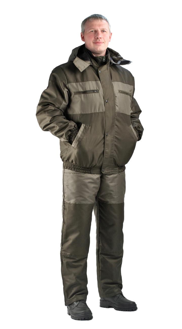 Костюм мужской Вихрь демисезонный хаки Костюмы утепленные<br>Камуфлированный универсальный демисезонный <br>костюм для охоты, рыбалки и активного отдыха. <br>Состоит из укороченной куртки с капюшоном <br>и полукомбинезона. Куртка: • Регулируемый <br>капюшон - воротник на флисе. • Центральная <br>застежка молния закрыта ветрозащитной <br>планкой на кнопках. • Нижние прорезные <br>карманы на молнию, нагрудные накладные <br>карманы с клапаном на кнопке и накладной <br>карман с клапаном на кнопке на рукаве. • <br>Низ куртки и манжеты на широкой резинке. <br>Полукомбинезон • Высокая спинка и полочка <br>• Застежка центральная на молнию.. • Два <br>верхних прорезных кармана и один накладной <br>боковой с клапаном на кнопке • Талия регулируется <br>резинкой. • Низ брюк регулируется шнуром <br>с фиксатором.<br><br>Пол: мужской<br>Размер: 64-66<br>Рост: 170-176<br>Сезон: демисезонный<br>Материал: Алова (100% полиэстер) пл. 225 г/м.кв - трикот.полотно
