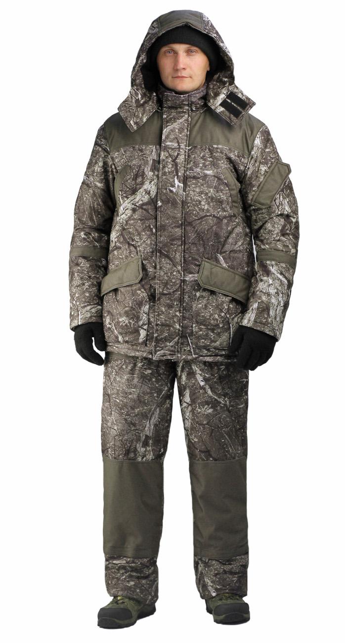 Костюм мужской «Горка-Буран» демисезонный Костюмы утепленные<br>Камуфлированный универсальный костюм <br>для охоты, рыбалки и активного отдыха при <br>низких температурах. Не шуршит. Состоит <br>из удлинненной куртки с капюшоном и полукомбинезона. <br>• Отстегивающийся и регулируемый капюшон. <br>• Центральная застежка молния с ветрозащитной <br>планкой и контактной лентой. • Боковые <br>и нагрудные накладные карманы с клапанами. <br>• Усиление в области локтей. • Костюм оснащён <br>объёмными карманами «антивор» • Фиксированная <br>регулировка по локтевым частям рукава •Подкладка: <br>стойки воротника, капюшона, полочки , спинки, <br>подкладка нижний карманов флис 180 г/м2 • <br>Подкладка рукава: ткань подкладочная пл.190 <br>г/м2 • Внутренние трикотажные манжеты- напульсники <br>Полукомбинезон: • Закрывает грудь и спину. <br>• Застежка с двухзамковой молнией. • Боковые <br>карманы. • Бретели регулируемые. • Талия <br>регулируется резинкой • Наколенники с <br>отверстиями для амортизационных накладок. <br>• Подкладка: ткань подкладочная пл.190 г/м2 <br>Синтепон 100г/м2 - 1 слой в куртке, 1 слой в полукомбинезоне.<br><br>Пол: мужской<br>Размер: 60-62<br>Рост: 170-176<br>Сезон: демисезонный<br>Материал: Алова 100% полиэстер