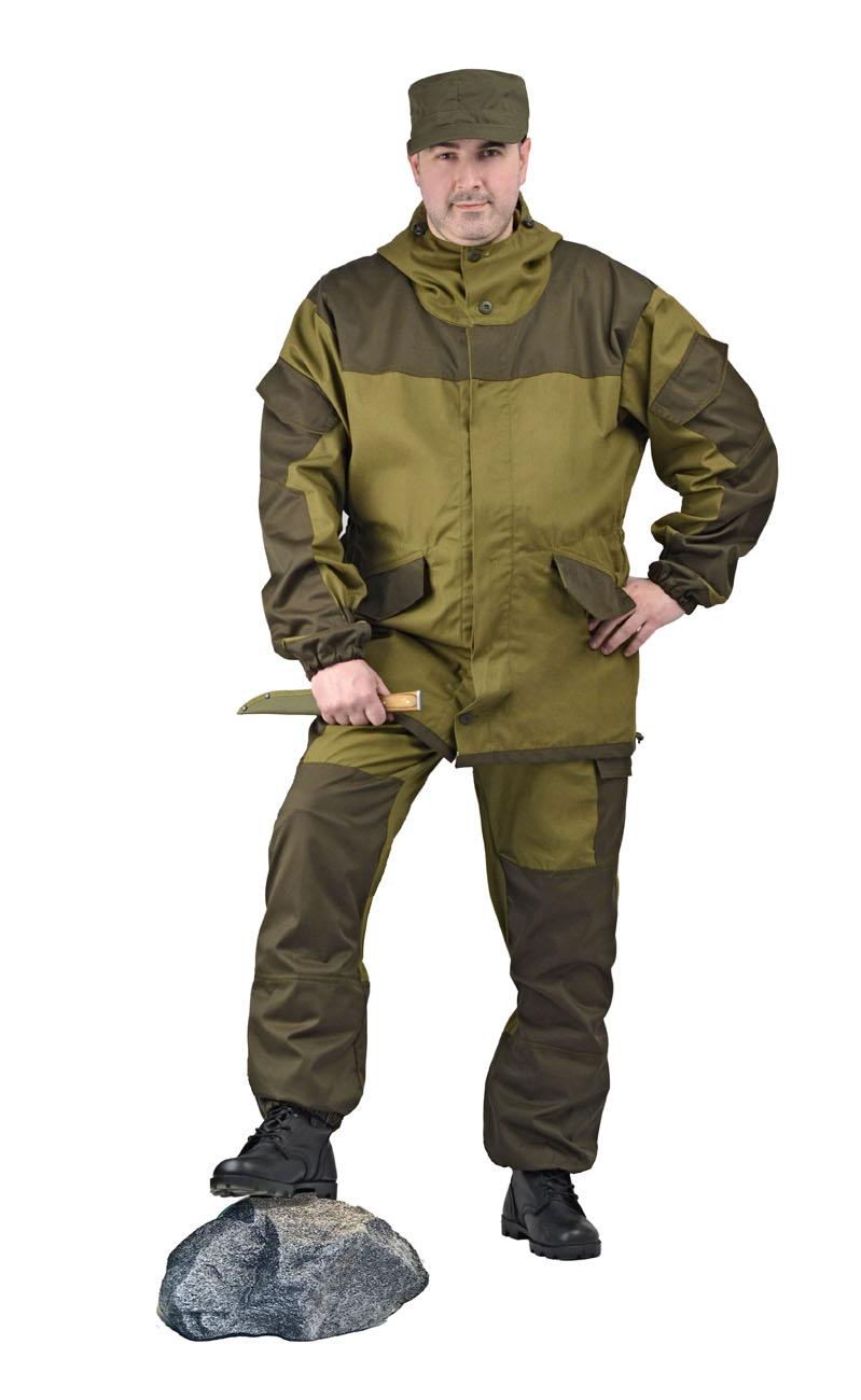 Костюм мужской Горка 3 летний палатка Костюмы неутепленные<br>Куртка: • свободного кроя; • застёжка центральная <br>супатная, на петлю и пуговицу; • кокетка, <br>накладки и карманы из отделочной ткани; <br>• 2 нижних прорезных кармана с клапаном, <br>на петлю и пуговицу ; • внутренний отлетной <br>карман на пуговицу; • на рукавах по 1 накладному <br>наклонному карману с клапаном на петлю <br>и пуговицу • в области локтя усиливающие <br>фигурные накладки; • низ рукавов на резинке; <br>• капюшон двойной, с козырьком, имеет утягивающую <br>кулису для регулировки по объему ; • подгонка <br>по талии с помощью кулиски; Брюки: • свободного <br>покроя; • гульфик с застёжкой на петлю и <br>пуговицу; • 2 верхних кармана в боковых <br>швах, • в области коленей, на задних половинках <br>брюк в области сидения – усиливающие накладки; <br>• 2 боковых накладных кармана с клапаном; <br>• 2 задних накладных фигурных кармана на <br>пуговицах; • крой деталей в области коленей <br>препятствует их вытягиванию; • Пылезащитная <br>юбка из бязи по низу брюк; • задние половинки <br>под коленом собраны резинкой; • пояс на <br>резинке; • низ на резинке;<br><br>Пол: мужской<br>Размер: 48-50<br>Рост: 170-176<br>Сезон: лето<br>Цвет: зеленый<br>Материал: «Палаточное полотно» (100% хлопок), пл. 270