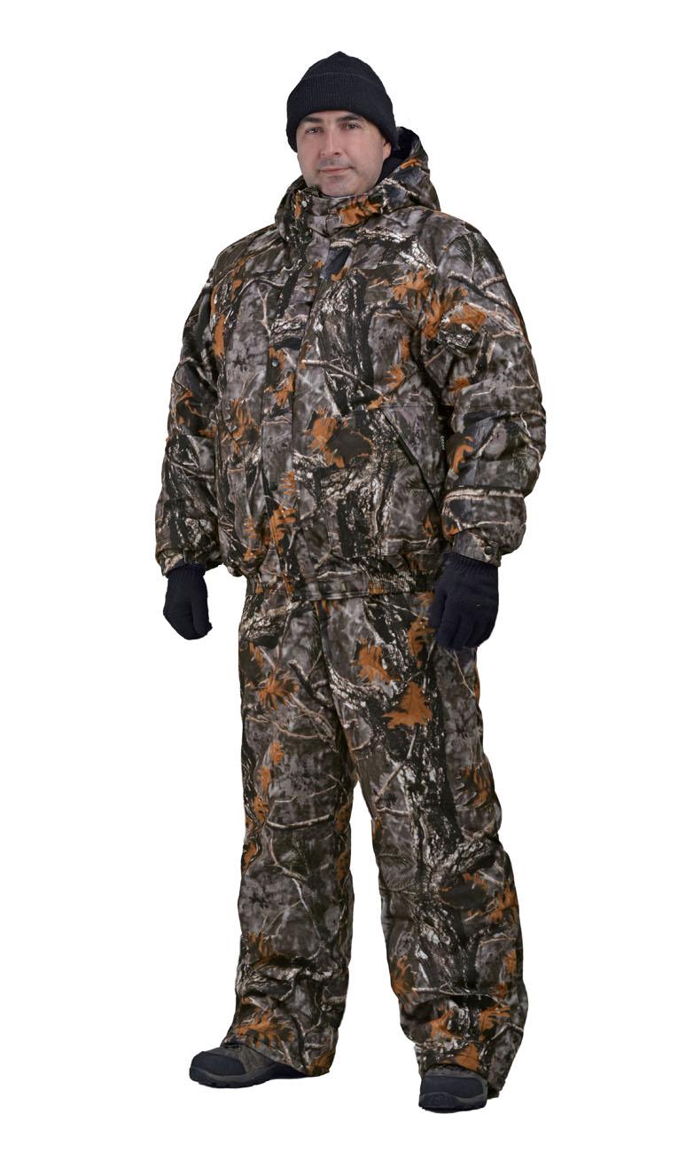 Костюм мужской Вихрь зимний кмф алова Костюмы утепленные<br>Камуфлированный универсальный костюм <br>для охоты, рыбалки и активного отдыха при <br>низких температурах. Состоит из укороченной <br>куртки с капюшоном и полукомбинезона. Куртка: <br>• Регулируемый втачной капюшон - воротник <br>на флисовой подкладке. • Центральная застежка <br>- молния закрыта ветрозащитной планкой <br>на кнопках. • Внутренняя планка, закрывающая <br>верхний край молнии. • Нижние накладные <br>карманы, нагрудный прорезной карман на <br>молнии. • На рукаве накладной, объемный <br>карман под мобильный телефон. • Низ куртки <br>и манжеты на широкой резинке. Полукомбинезон: <br>• С центральной застежкой на молнию и ветрозащитной <br>планкой. • Высокая грудка и спинка. • Два <br>передних , один задний накладных кармана <br>и один на груди с клапаном на кнопках. • <br>Мягкие регулируемые бретели с эластичной <br>лентой. • Низ полукомбинезона регулируется <br>молнией.<br><br>Пол: мужской<br>Размер: 52-54<br>Рост: 182-188<br>Сезон: зима<br>Цвет: белый<br>Материал: Алова (100% полиэстер) пл. 225 г/м.кв - трикот.полотно