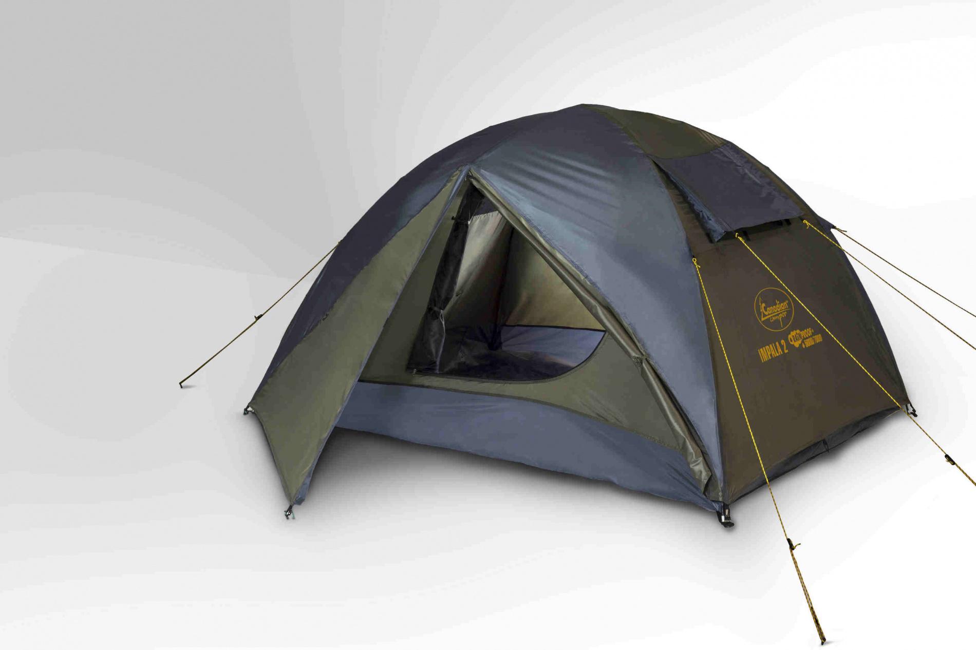 Палатка Canadian Camper IMPALA 2 (цвет forest дуги 8,5 мм)Палатки<br>Палатка IMPALA 2 (цвет forest дуги 8,5 мм) предназначена <br>для походов низкой и средней сложности <br>на протяжении теплого времени года, ограничено <br>может использоваться поздней осенью в краткосрочных <br>выездах на природу. Конструктивно состоит <br>из тента (внешней палатки) и внутренней <br>палатки полусферической формы. Для изготовления <br>тента и дна внутренней палатки использован <br>прочный полиэстер водонепроницаемостью <br>4000 мм р.ст., и 6000 мм. р.ст. соответственно. <br>В качестве материала для купола внутренней <br>палатки использован нейлон.<br>Характеристики<br>Внутренняя палатка - есть<br>Количество мест - 2<br>Тип каркаса -&amp;nbsp;внутренний<br>Количество входов/комнат - 2/1<br>Количество тамбуров - 2<br>Вентиляционные окна - есть<br>Штормовые оттяжки - есть<br>Внутренние карманы - есть<br>Штормовые оттяжки - есть<br>Возможность крепления фонарика - есть<br>Навес - нет<br>Водостойкость тента/дна - 4000/6000 мм в.ст.<br>Герметизация швов - проклеенные<br>Ветрозащитная/снегозащитная юбка - нет<br>Противомоскитная сетка - есть<br>Защита от ультрафиолета - есть<br>Огнеупорная пропитка - есть<br>Размеры внешней палатки (ДхШхВ) - 360x250x135 <br>см<br>Размеры внутренней палатки (ДхШхВ) - 180x210x130 <br>см<br>Вес - 3,7 кг<br><br>Сезон: лето<br>Цвет: оливковый