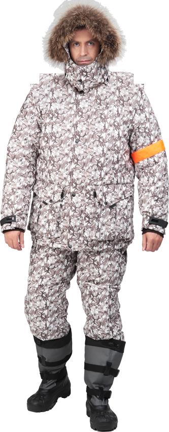 Костюм Sobol ОРОКТОЙ утеплённый, бежево-коричневый Костюмы утепленные<br>Подойдет любителям рыбалки и активного <br>отдыха зимой, а также для катания на снегоходе. <br>Защищает от пониженных температур воздуха <br>до 40С. В комплект входит куртка и полукомбинезон. <br>КУРТКА: - застегивается на молнию с ветрозащитным <br>клапаном; - съемный капюшон с меховой опушкой; <br>- нагрудные карманы с застежкой на молнию; <br>- нижние накладные карманы; - внутренний <br>карман под документы; - регулировка объема <br>по талии; - трикотажные манжеты; - сигнальная <br>вставка на рукаве; - ветрозащитная юбка. <br>БРЮКИ: - высокий пояс; - застежка - гульф на <br>тесьму-молнию; - отстегивающаяся спинка; <br>- боковые и задние карманы; - усиленные вставки <br>в области коленей; - молния внизу штанин.<br><br>Пол: мужской<br>Размер: 44-46<br>Рост: 182-188<br>Сезон: зима<br>Цвет: серый<br>Материал: LOKKER LINE, пл. 135 г/м?