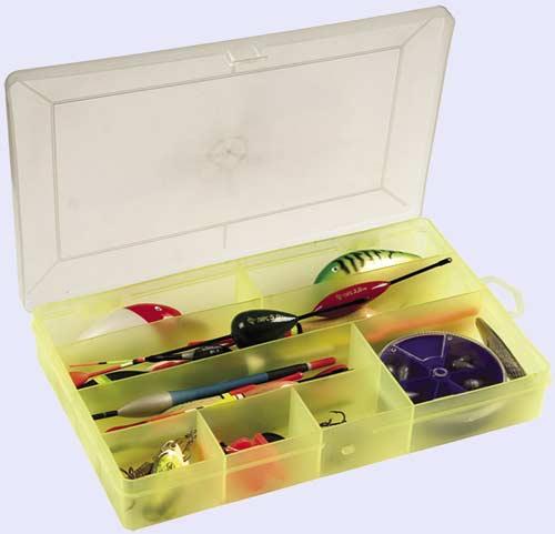 Коробка д/твистеров Универсал (8 секц.) Коробки для приманок<br>Производится из качественного полипропилена, <br>не вступающего в химическую реакцию с мягкими <br>наживками. Многофункциональная коробка <br>для зимней и летней рыбалки. Восемь секций <br>различной конфигурации позволяют хранить <br>в коробке как поплавки до 210мм, так и наборы <br>грузил диаметром до 70мм Размер 240х150х37мм <br>Количество секций 8<br>