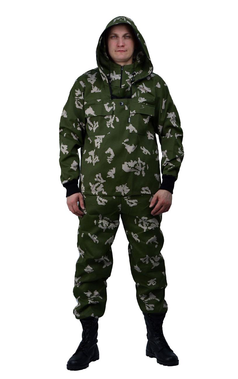 Костюм противоэнцефалитный летний, тк. Костюмы противоэнцефалитные<br>Костюм состоит из куртки и брюк Куртка <br>- с регулируемым капюшоном , - со съемной <br>вставкой из противомоскитной сетки на молнии, <br>- с накладными карманами с клапаном на кнопках. <br>- складки-ловушки на груди и рукавах - рукава <br>с трикотажными напульсниками. - с налокотниками. <br>- низ куртки на эластичной резинке с фиксатором <br>Брюки - прямые с эластичной лентой в притачном <br>поясе со шлевками, - верхними внутренними <br>карманами на кнопках. - с эластичным шнуром <br>на фиксаторе по низу брюк. - с наколенниками<br><br>Пол: мужской<br>Размер: 52-54<br>Рост: 170-176<br>Сезон: лето<br>Цвет: зеленый