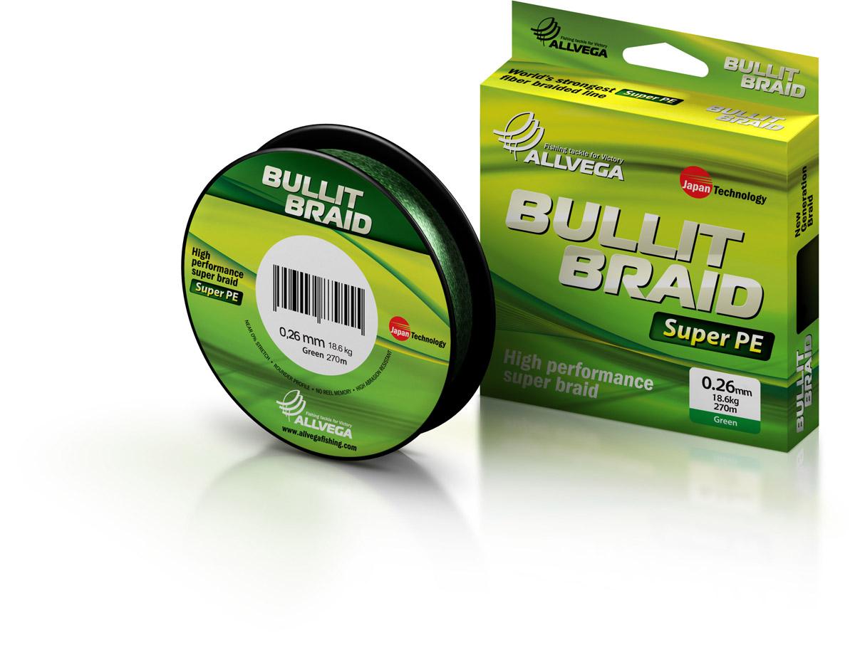Леска плетеная ALLVEGA Bullit Braid 270м 0,26мм 18,6кг Леска плетеная<br>Леска BULLIT BRAID разработана с учетом новейших <br>японских технологий в сфере строения волокон. <br>Благодаря микроволокнам полиэтилена (Super <br>PE) леска имеет очень плотное плетение, имеет <br>гладкую круглую поверхность и одинаковое <br>сечение по всей длине.<br>
