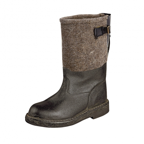 Сапоги войлочные Полярник, кожа, микропористая Сапоги для активного отдыха<br>Это модель – альтернатива валяной обуви <br>– сочетает теплоизолирующие свойства валенок <br>(вся внутренняя часть сапог из войлока) <br>и в то же время отлично защищает ноги от <br>воздействия влаги (союзка и внешняя нижняя <br>часть сапог выполнены из натуральной водостойкой <br>кожи). Верх сапог – комбинация материалов <br>(кожа и войлок), утеплитель – войлок. Усиленный <br>подносок – термопласт – надежно защищает <br>стопу от механических повреждений. Метод <br>крепления подошвы - рантово-клеевой. Голенище <br>регулируется по ширине исключая проникновение <br>снега, воды и грязи внутрь обуви. Вкладная <br>стелька из войлока. Материал: Верх: кожа/войлок <br>Утеплитель: войлок. Подносок: термопласт. <br>Подошва: пористая резина ( от -45 С до +70С). <br>Описание товара: Тип подошвы: однослойная. <br>Метод крепления: доппельно-клеевой . ГОСТ <br>12.4.187-97<br><br>Размер: 43<br>Сезон: зима