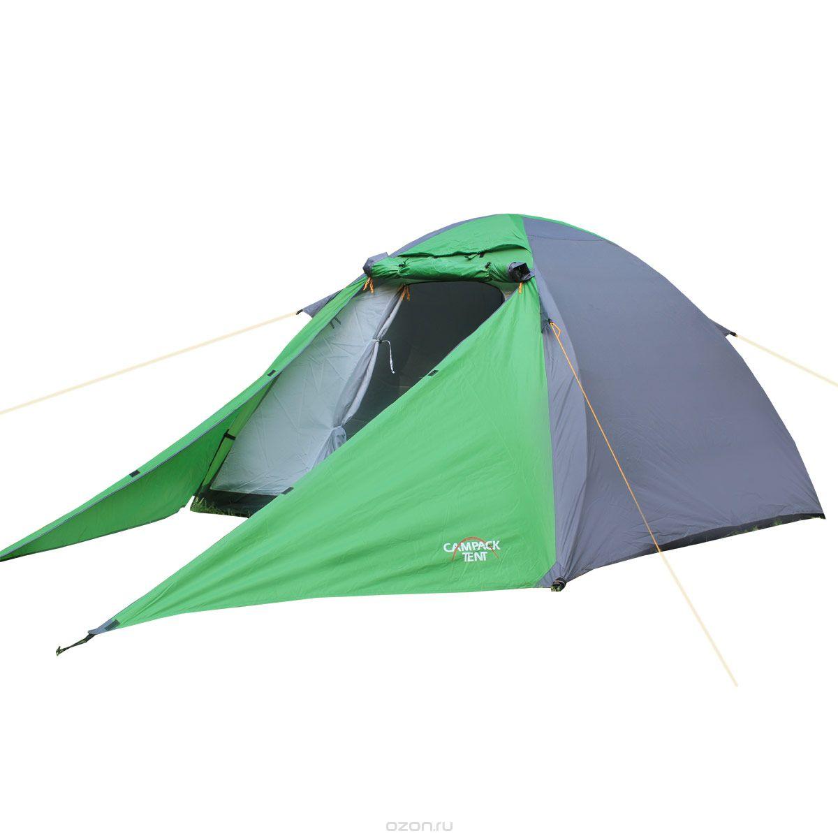 Палатка туристическая CAMPACK-TENT Forest Explorer Палатки<br>Универсальная купольная палатка для несложных <br>походов и семейного отдыха на природе. Высокопрочное <br>дно изготовлено из армированного полиэтилена, <br>не пропускает влагу и устойчиво к истиранию. <br>Каркас, изготовленный из фибергласса, обеспечивает <br>надежность и устойчивость. Палатка оснащена <br>увеличенными вентиляционными окнами, клапаном <br>от косого дождя и двухслойной дверью с цветными <br>молниями. Дополнительный пол в тамбуре <br>позволяет обеспечить больший комфорт при <br>эксплуатации. Внутри палатки имеется подвеска <br>для фонаря и карманы для хранения мелочей. <br>Проклеенные швы гарантируют герметичность <br>и надежность в любой ситуации. Ткань тента:190T <br>P. Taffeta PU 3000MM Ткань палатки:170T P. Taffeta + MESH Ткань <br>дна:Tarpauling Вес: 4,7 кг Диаметр дуг: 9,5 мм Ремнабор: <br>Самоклеющиеся заплатки 100 х 100 мм из ткани <br>190T P. Taffeta PU 3000MM<br>