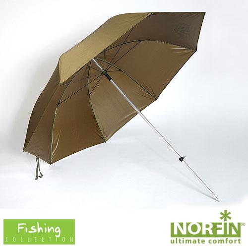 Зонт рыболовный Norfin Leeds NfКресла, стулья, зонты<br>Большой рыболовный зонт. Прекрасно подойдет <br>для защиты от осадков и непогоды. Особенности: <br>- размеры 189х189х190 см - размеры в сложенном <br>виде 130х8х8 см - регулируемый угол наклона; <br>- алюминиевый каркас<br><br>Пол: унисекс<br>Сезон: лето<br>Цвет: хаки<br>Материал: 210D Polyester PU