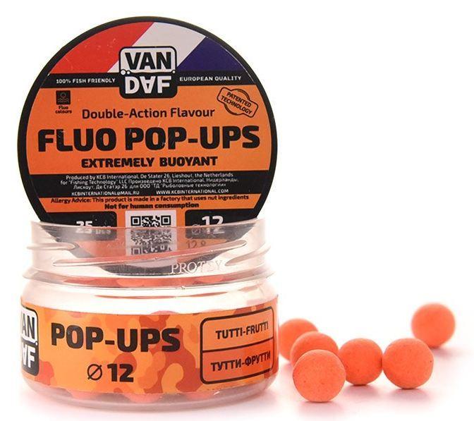 Поп-апы VAN DAF Тутти-фрутти, 12мм, оранжевый, Насадки<br>POP-UPS VAN DAF (Поп-апы), плавающие флуоресцентные. <br>Невероятно привлекательная насадка с потрясающей <br>видимостью даже в воде с минимальной прозрачностью. <br>Сохраняет положительную плавучесть несколько <br>часов. Поп-апы созданы для традиционной <br>карповой ловли, а в сочетании с жидкими <br>аттрактантами VAN DAF являются отменной насадкой <br>для ловли на FLAT FEEDER (флэт фидер). Поп-апы <br>имеют уникальную мягкую губчатую структуру, <br>отлично впитывающую стимуляторы аппетита <br>и мгновенно отдающую запах в воде. С нашими <br>поп-апами легко работать. Вы можете без <br>проблем проткнуть их иглой или привязать <br>к волосу. Мягкий и податливый материал легко <br>режется. С помощью ножа или ножниц вы сможете <br>придать любой размер или форму вашей насадке. <br>Каждый POP-UP пропитан ароматизатором с привлекательным <br>для карпа запахом. Вы сможете подобрать <br>необходимый цвет и запах под любые условия <br>ловли. Яркий флуоресцентный цвет делает <br>насадку на волосе хорошо заметной, а расходящийся <br>от нее запах выделяет ее на дне и провоцирует <br>рыбу на поклёвку. Измельчив и добавив их <br>в спод–микс совместно с пеллетсом, зерновыми <br>миксами, резаными бойлами, можно придать <br>смеси активность с помощью всплывающих <br>частиц. Для улучшения работы POP-UPS перед <br>ловлей советуем пропитать их в дипах или <br>бустерах VAN DAF. Размер 12 Цвет Оранжевый Сезон <br>Всесезонные Вес 20 г<br>