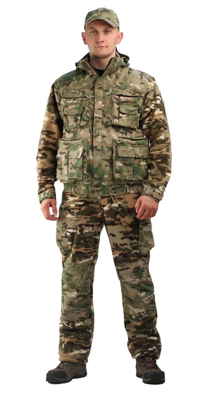 Флисовый мужской костюм Gerkon Atak-2 цвет Мультикам Костюмы флисовые<br>Модельные особенности: куртка и брюки из <br>флиса с отделкой тканью - с регулировкой <br>по овалу лица и объему – прорезные карманы <br>на молнии на куртке и брюках – регулировка <br>объема по низу куртки, поясу и низу брюк <br>- накладки на плечах, коленях, локтях и цнтральная <br>часть капюшона.<br><br>Пол: мужской<br>Размер: 44-46<br>Рост: 170-176<br>Сезон: все сезоны